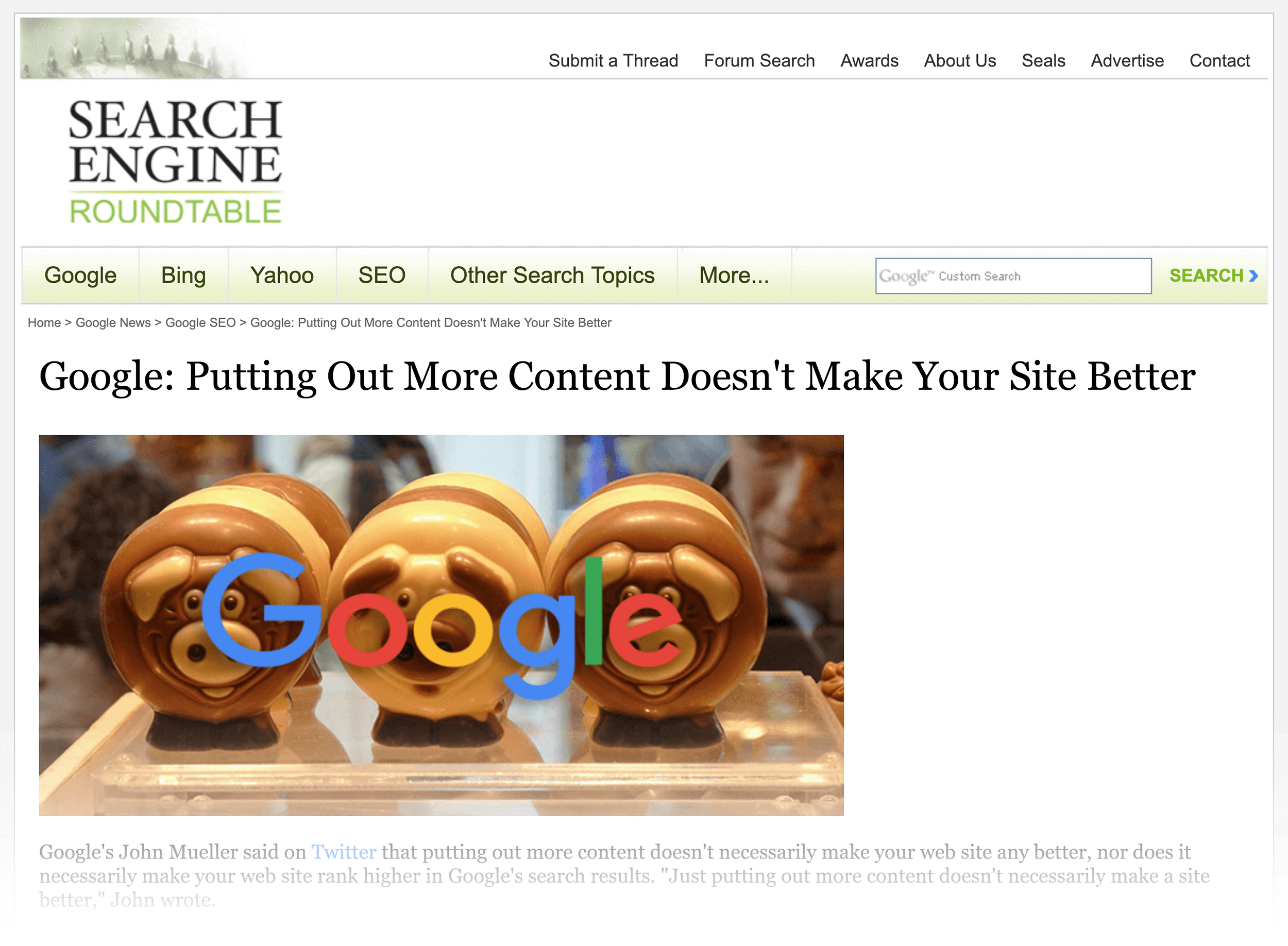 Google: Putting out more content doesn't make your site better