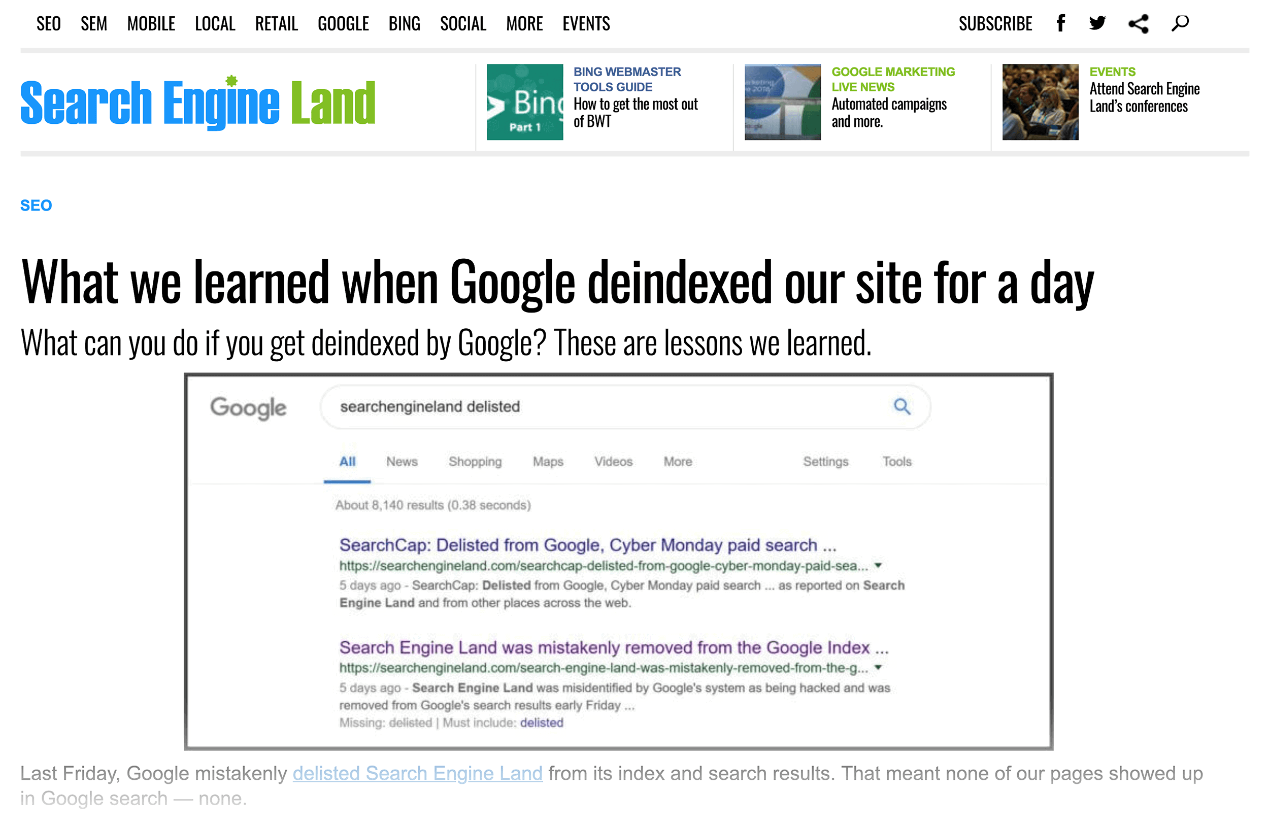 Search Engine Land – Hacked and deindexed