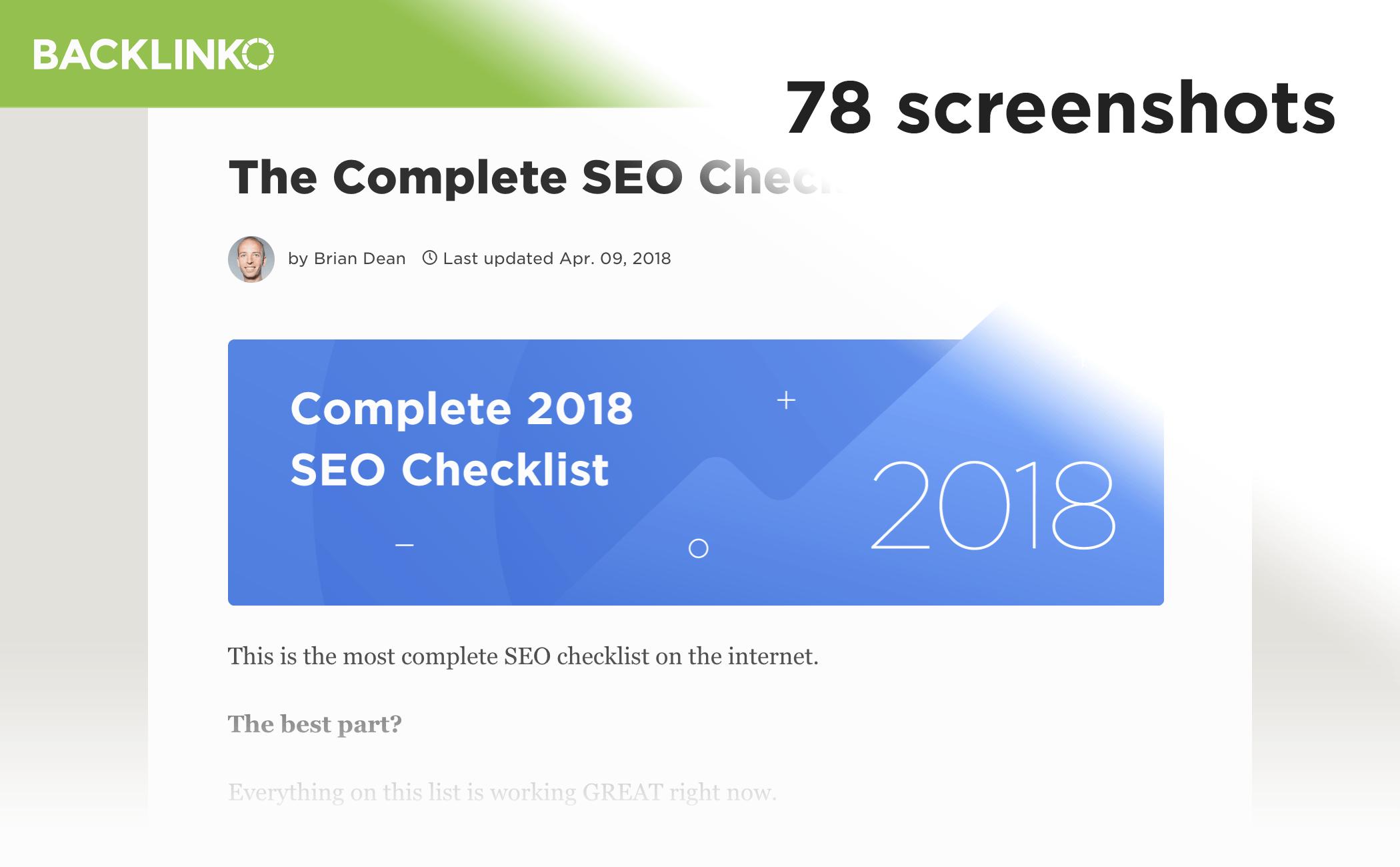 SEO Checklist post – Screenshots