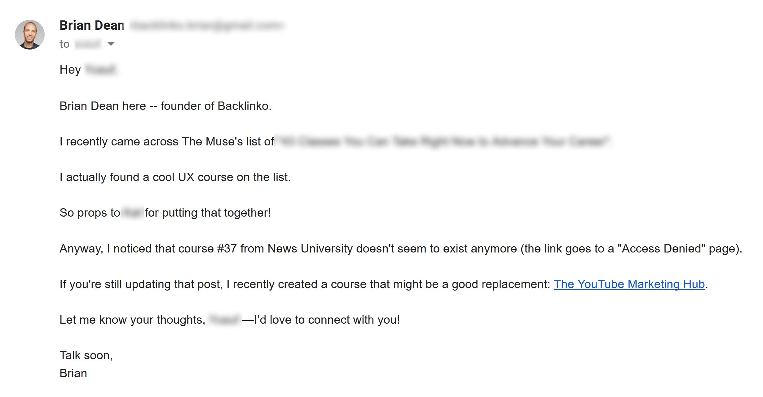 Broken link building email