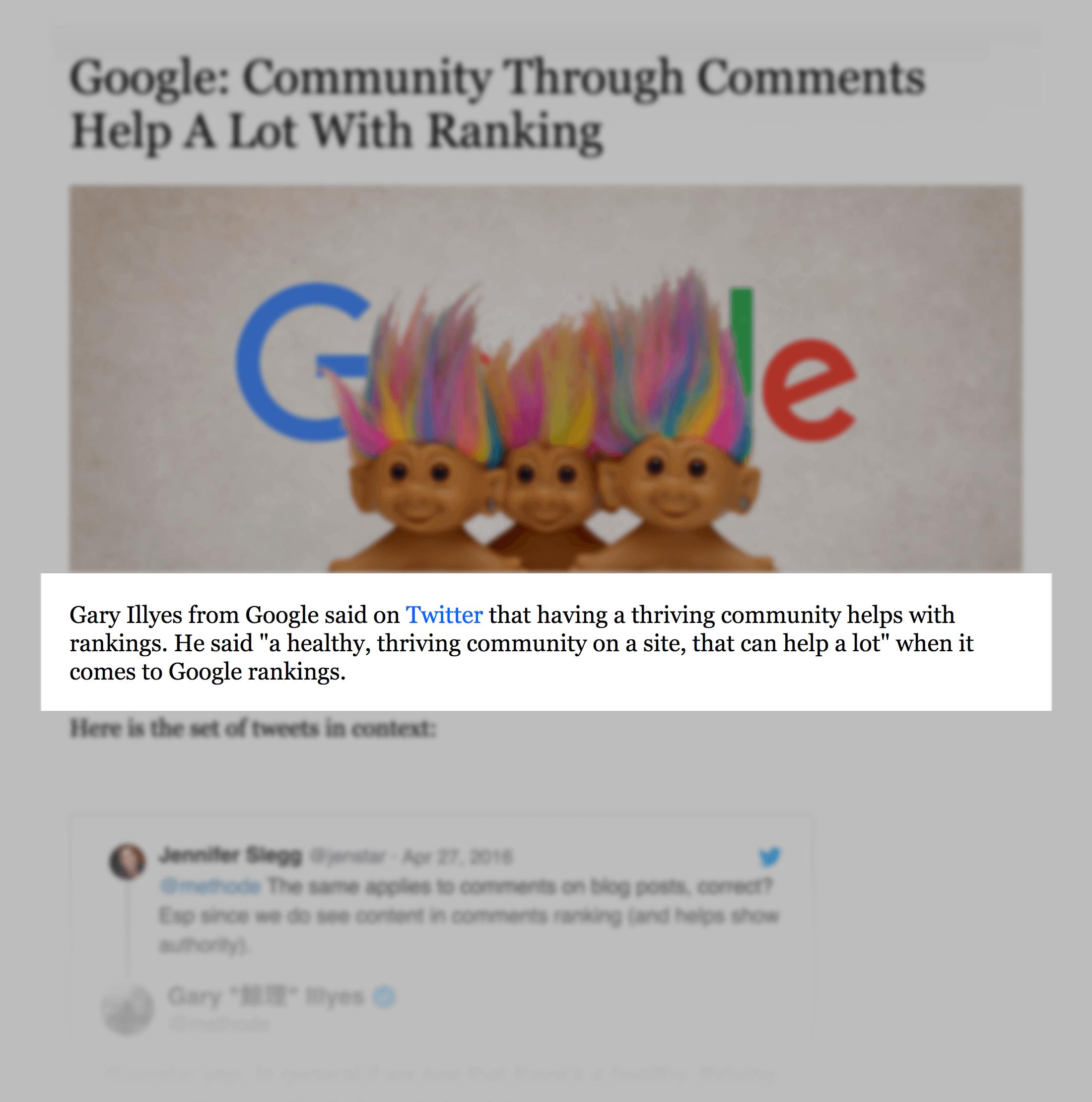 Community helps rankings