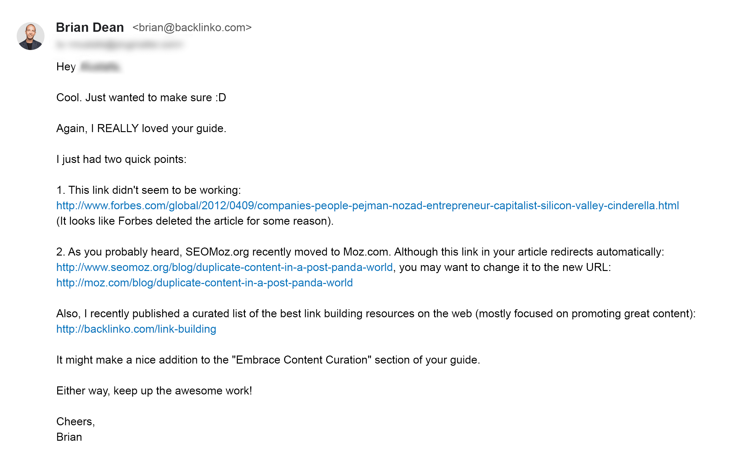 Dead links email