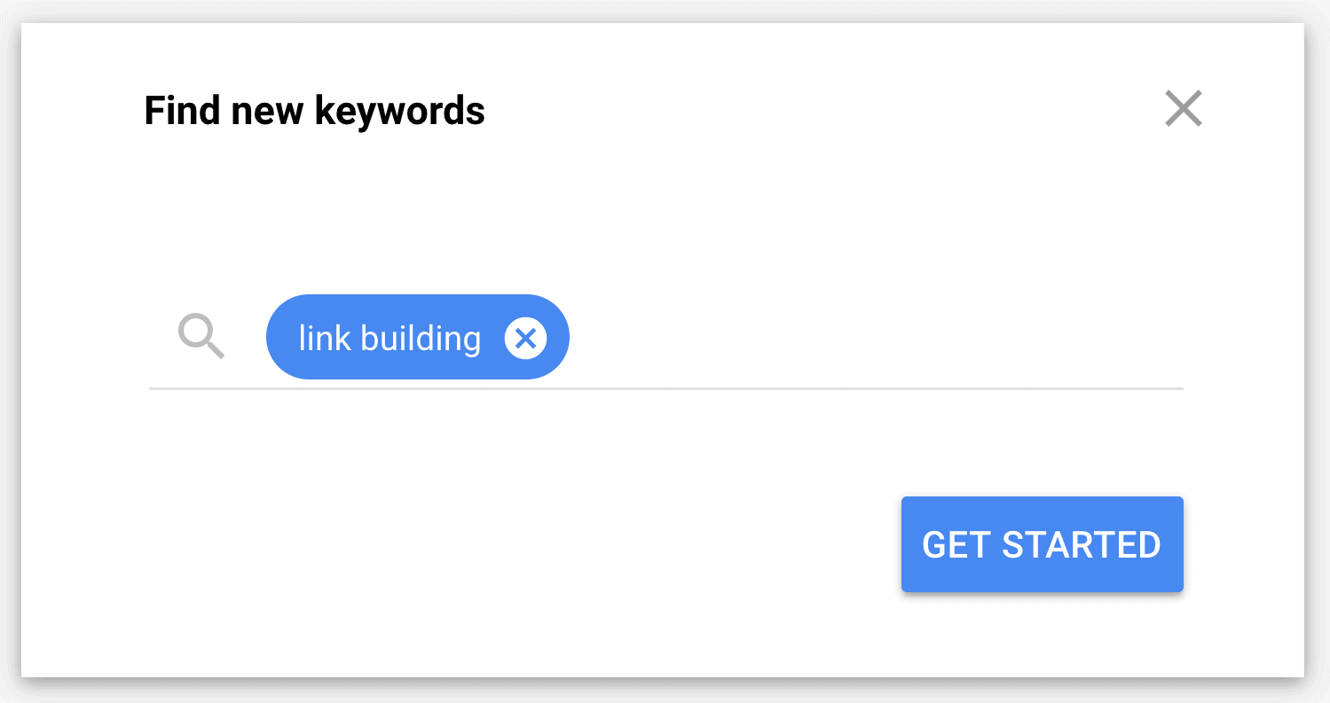 """Enter keyword into the """"Find new keywords"""" field"""