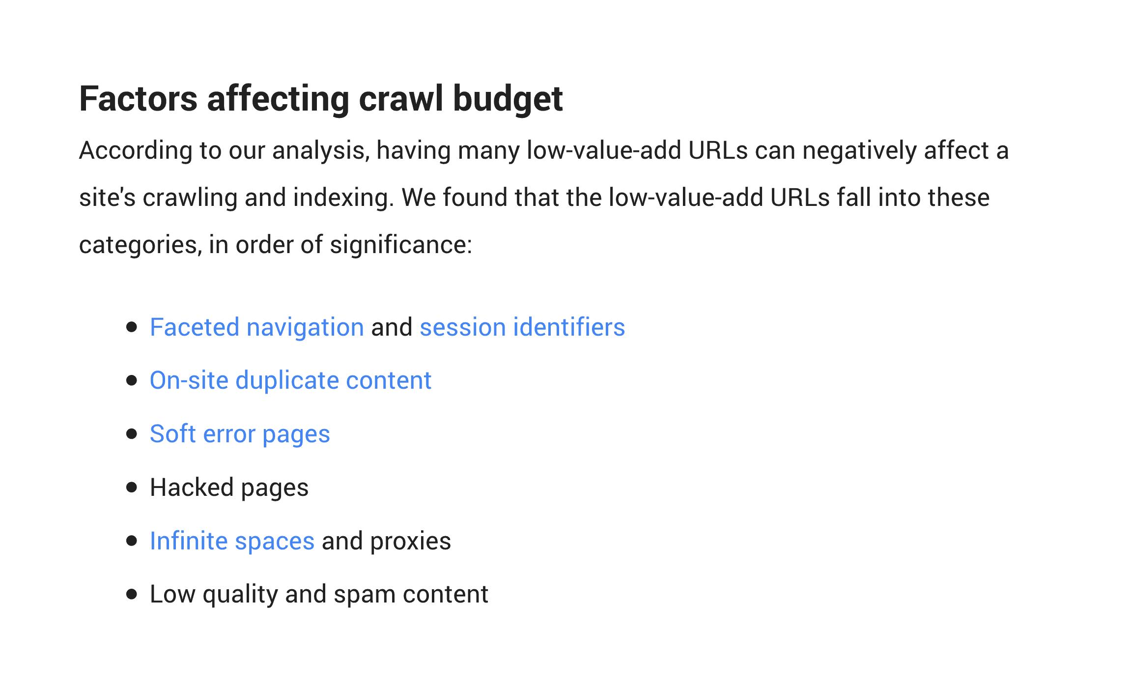 Factors affecting crawl budget