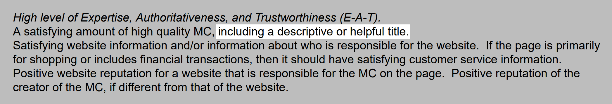 Google guidelines state that descriptive titles are important