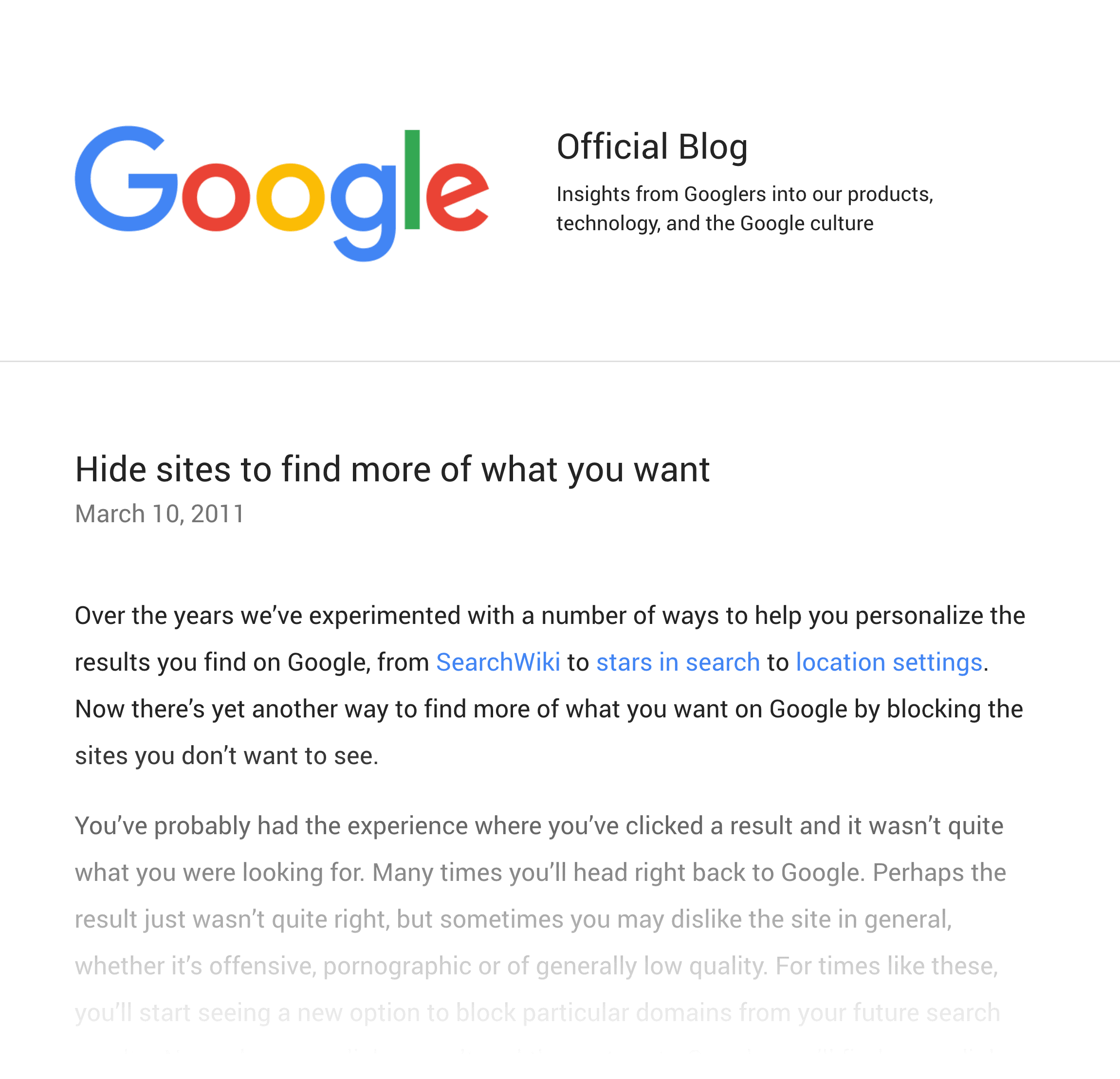 Google – Hide sites