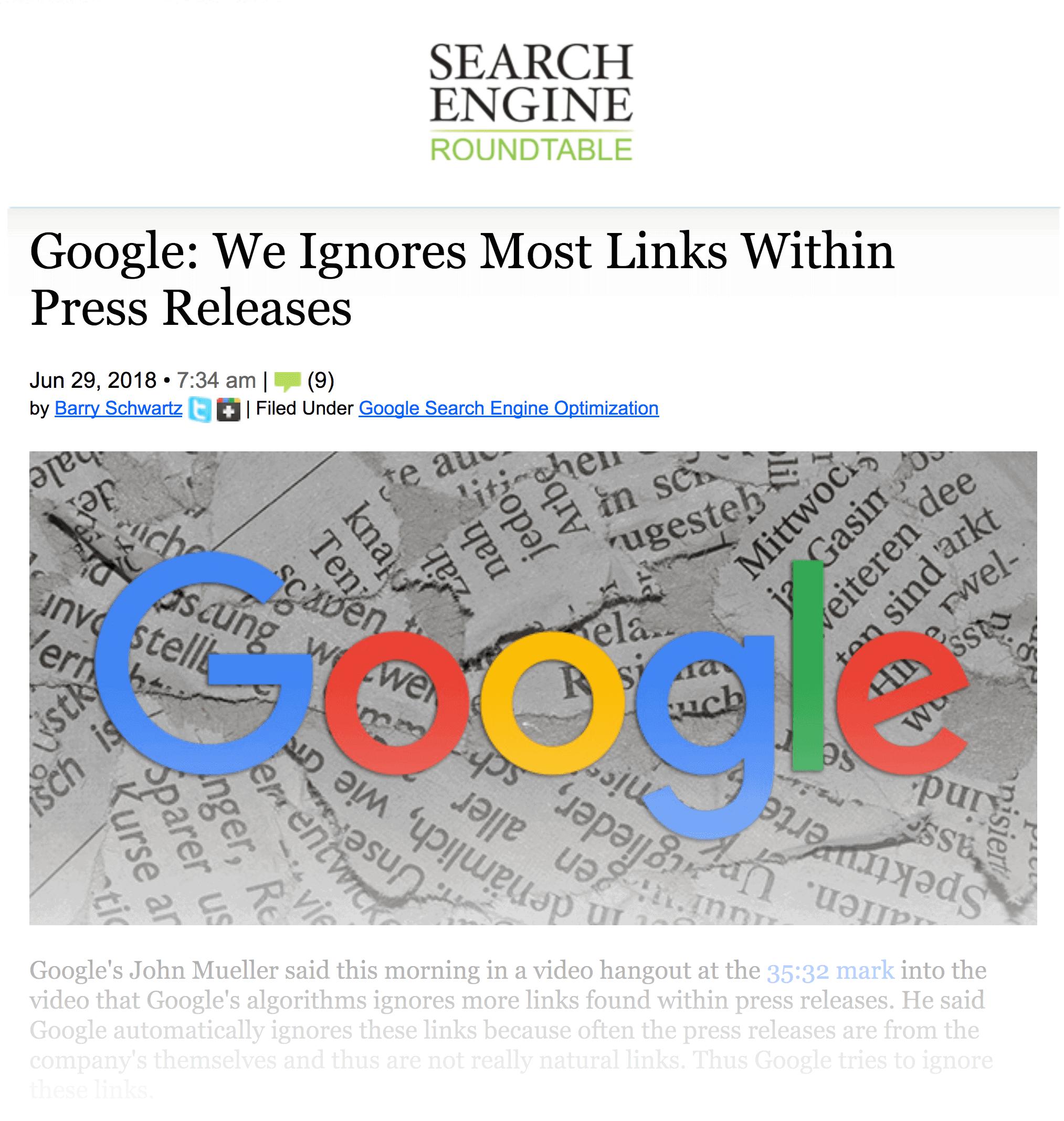 Google ignores links