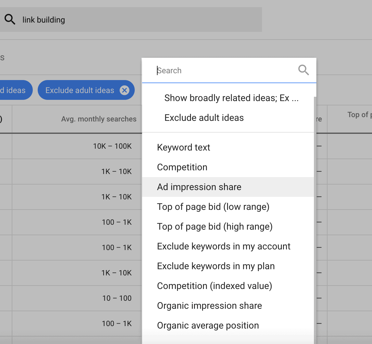 Google Keyword Planner – Results filter