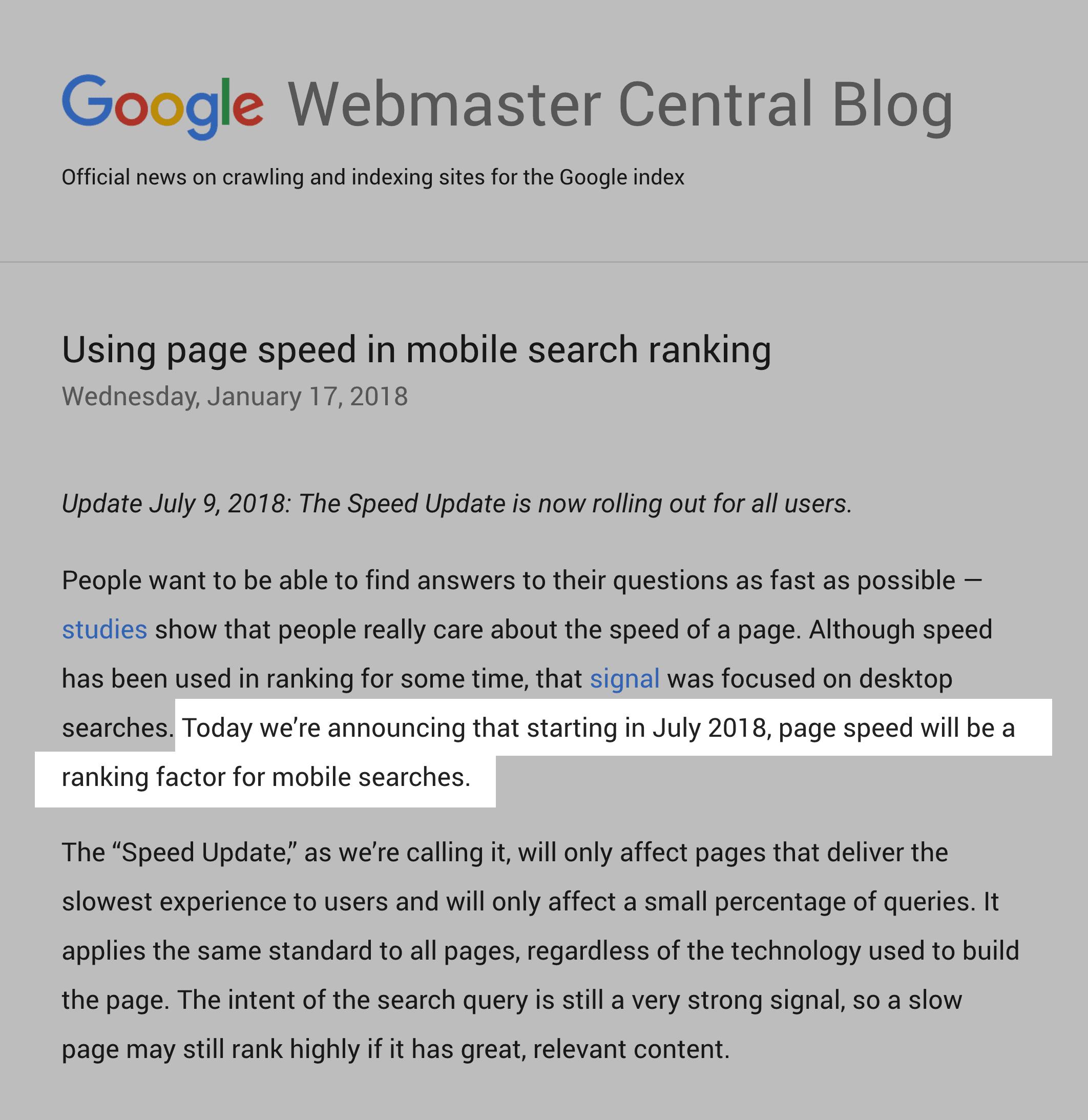 Google Page Speed ranking