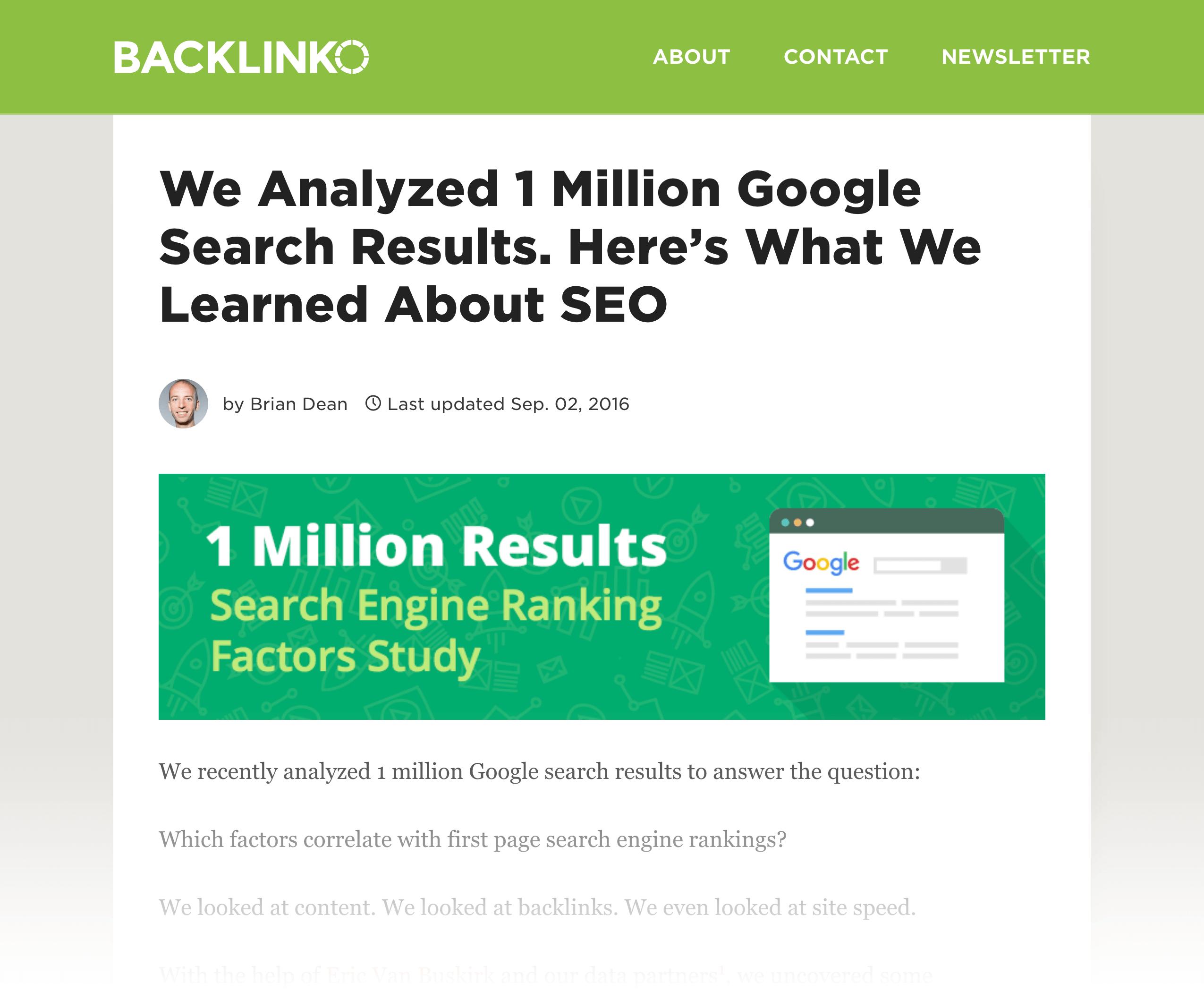 Google Ranking Factors study