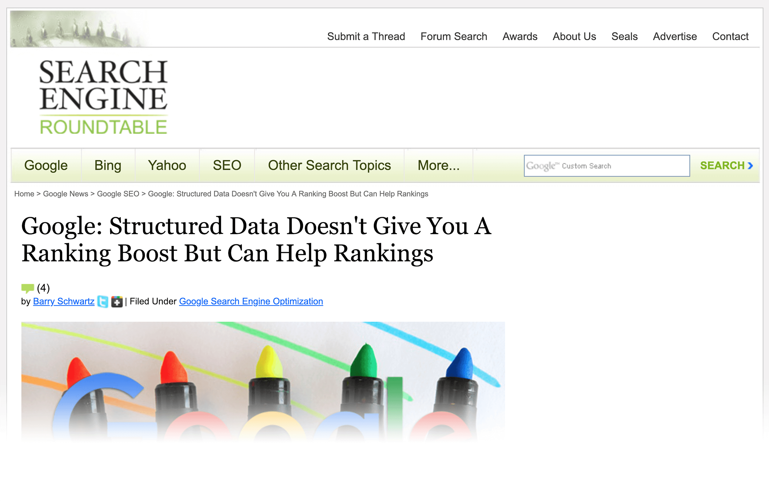 Google says that structured data is not a ranking signal