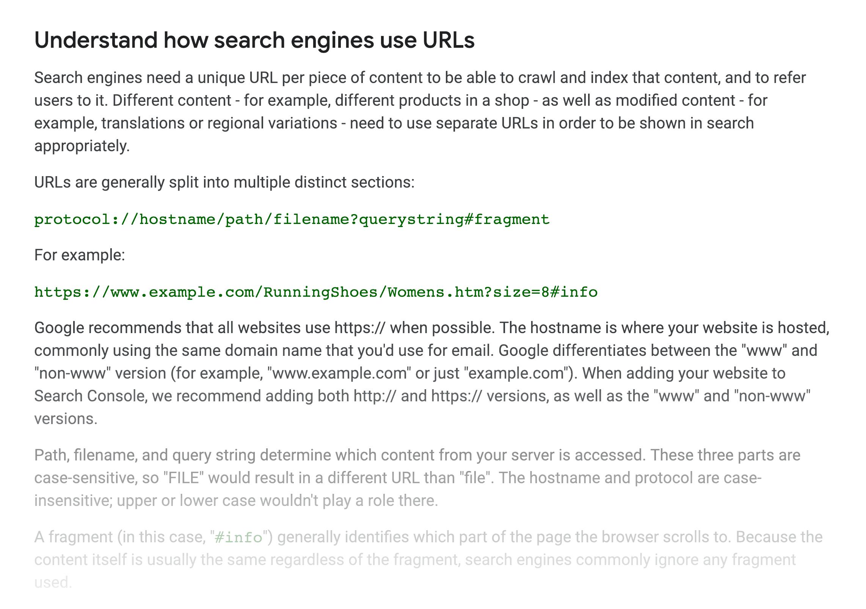 Google SEO Starter Guide – URLs