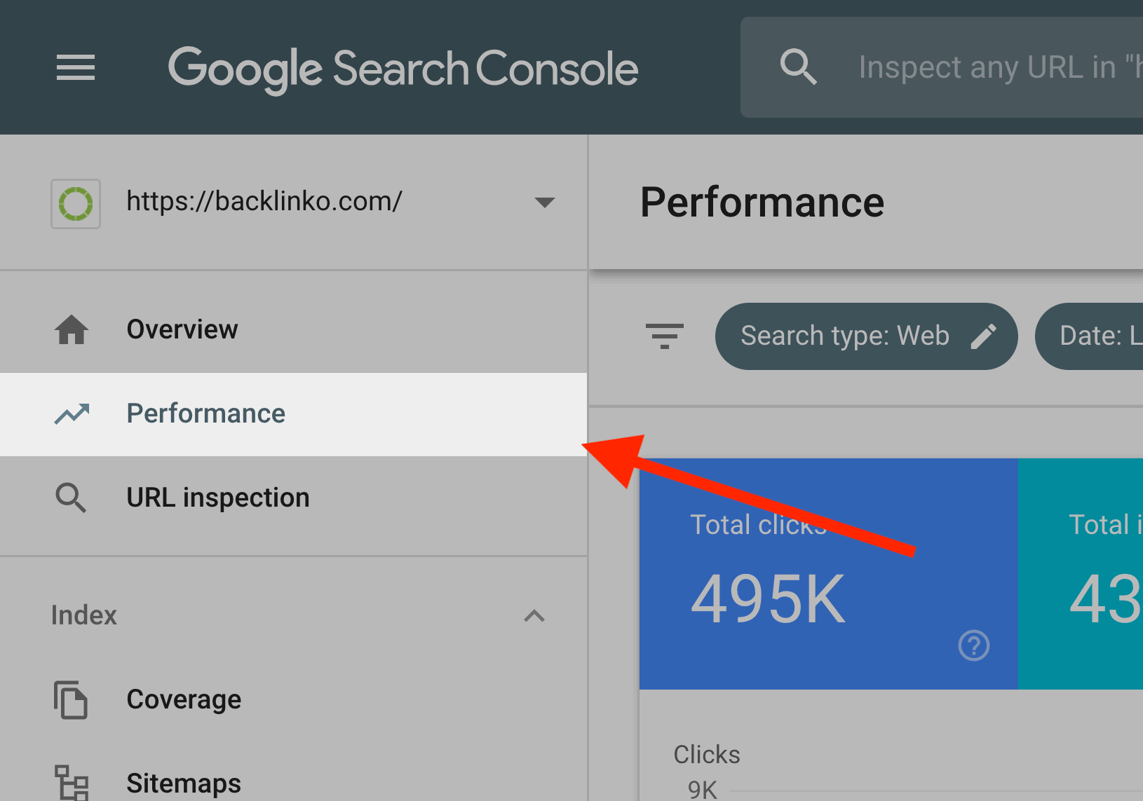 """Google Search Console – Click """"Performance"""" in sidebar"""
