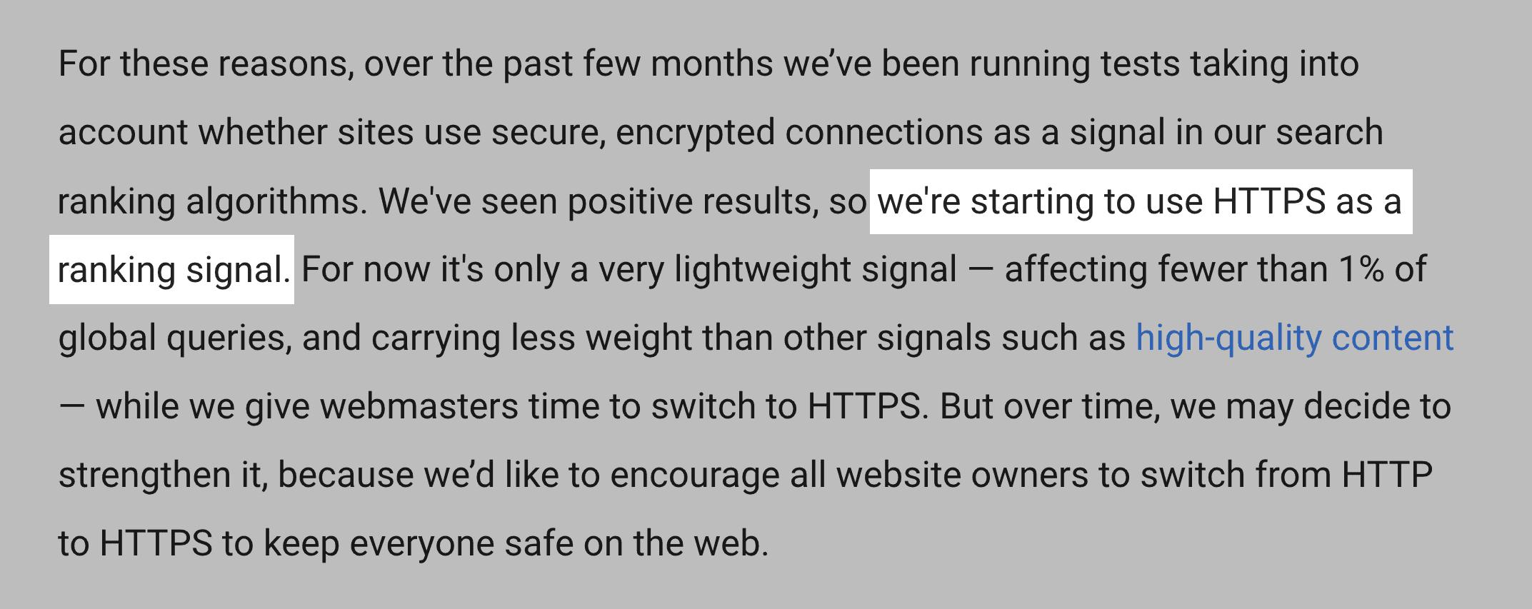 HTTPS sites have a ranking advantage