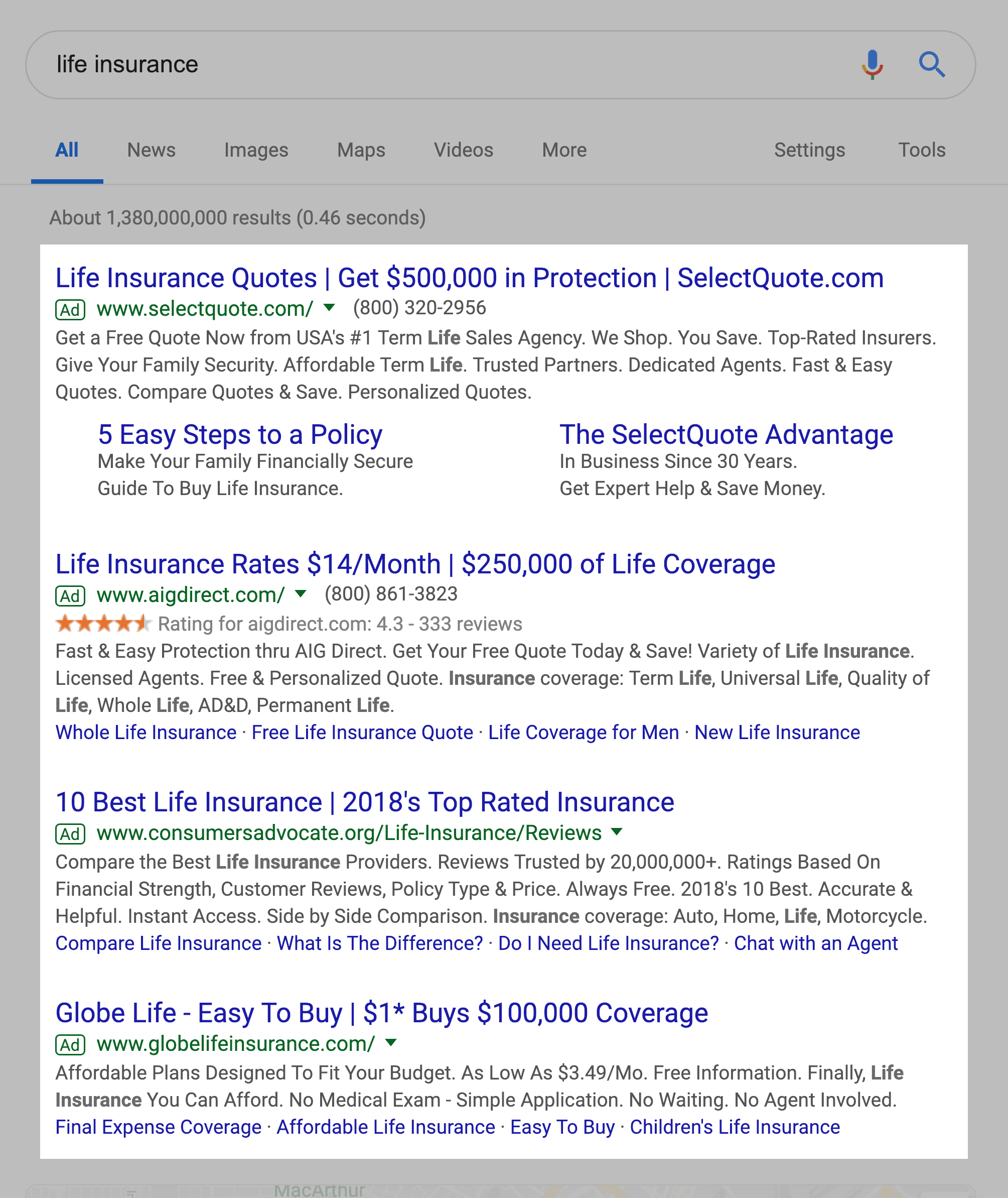 """""""life insurance"""" SERPs – Ads above the fold"""