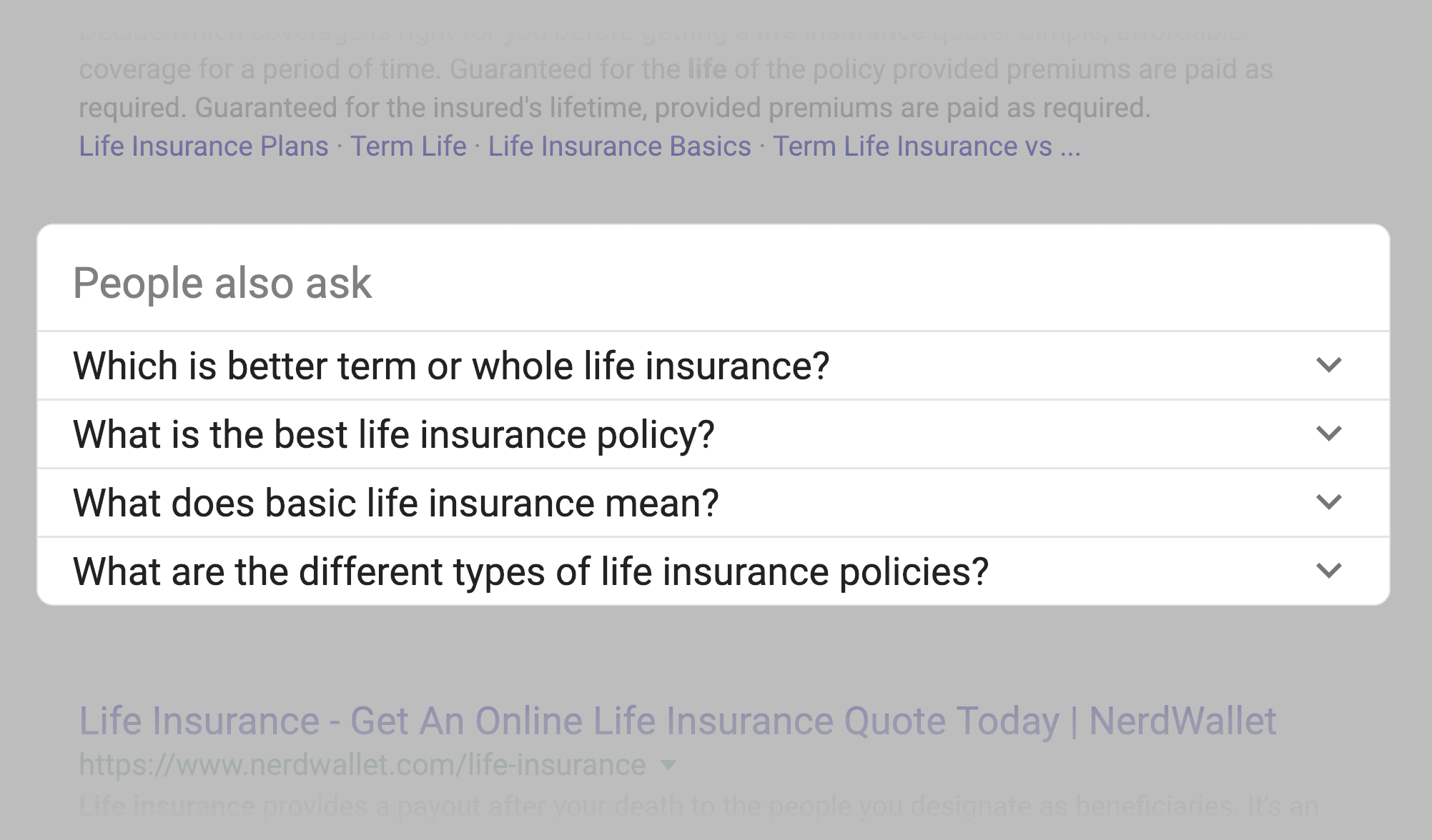 """""""life insurance"""" SERPs – """"People also ask"""" box"""