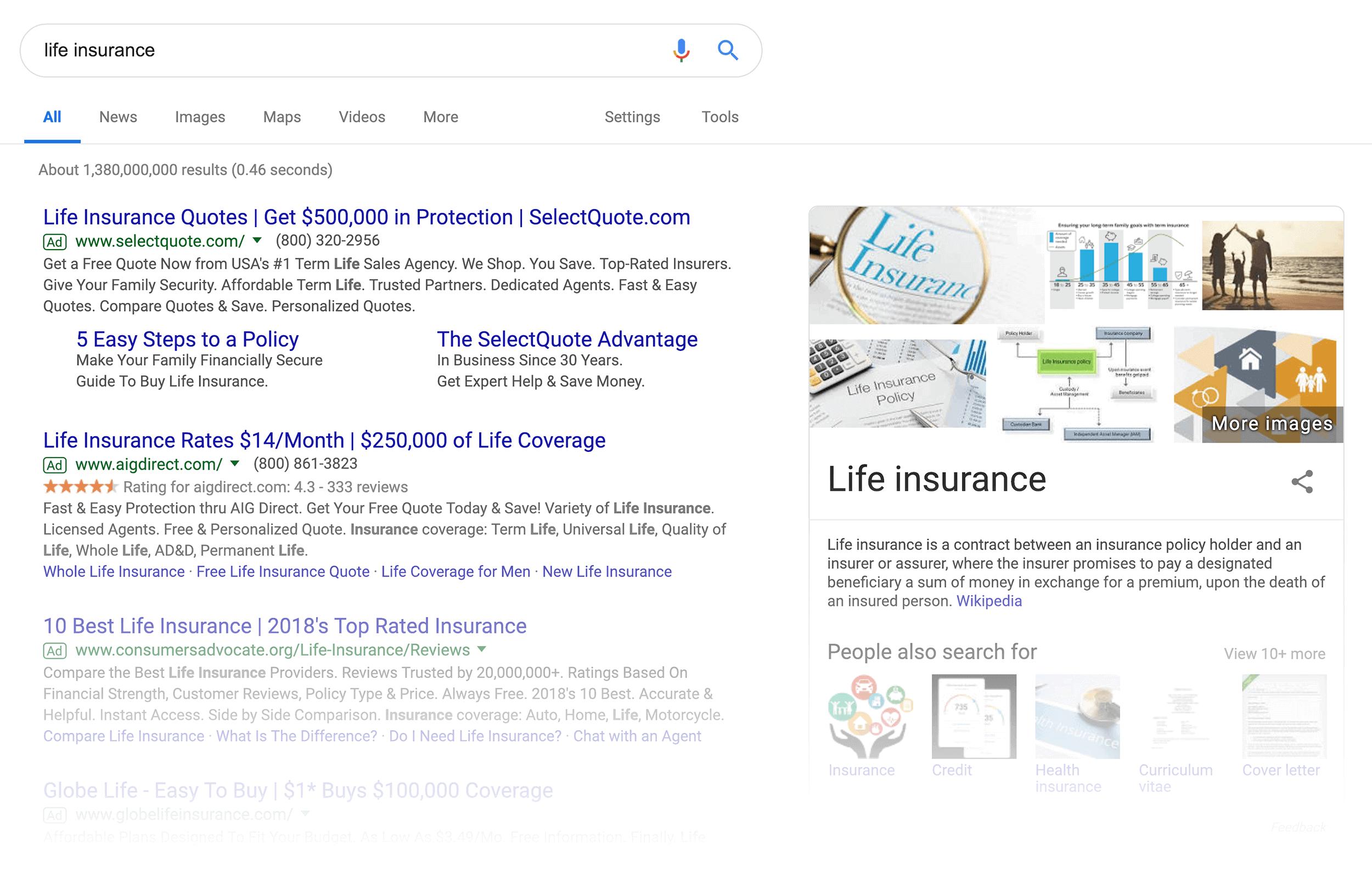 """life insurance"" SERPs"