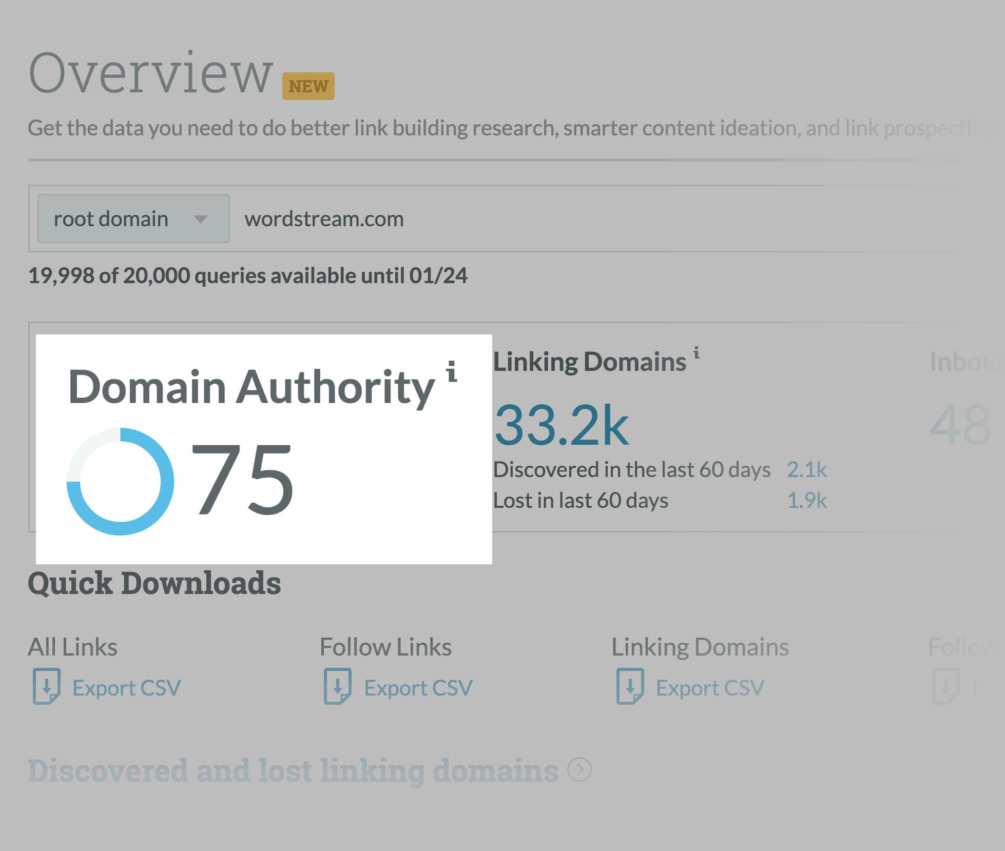 Moz Link Explorer – WordStream Domain Authority