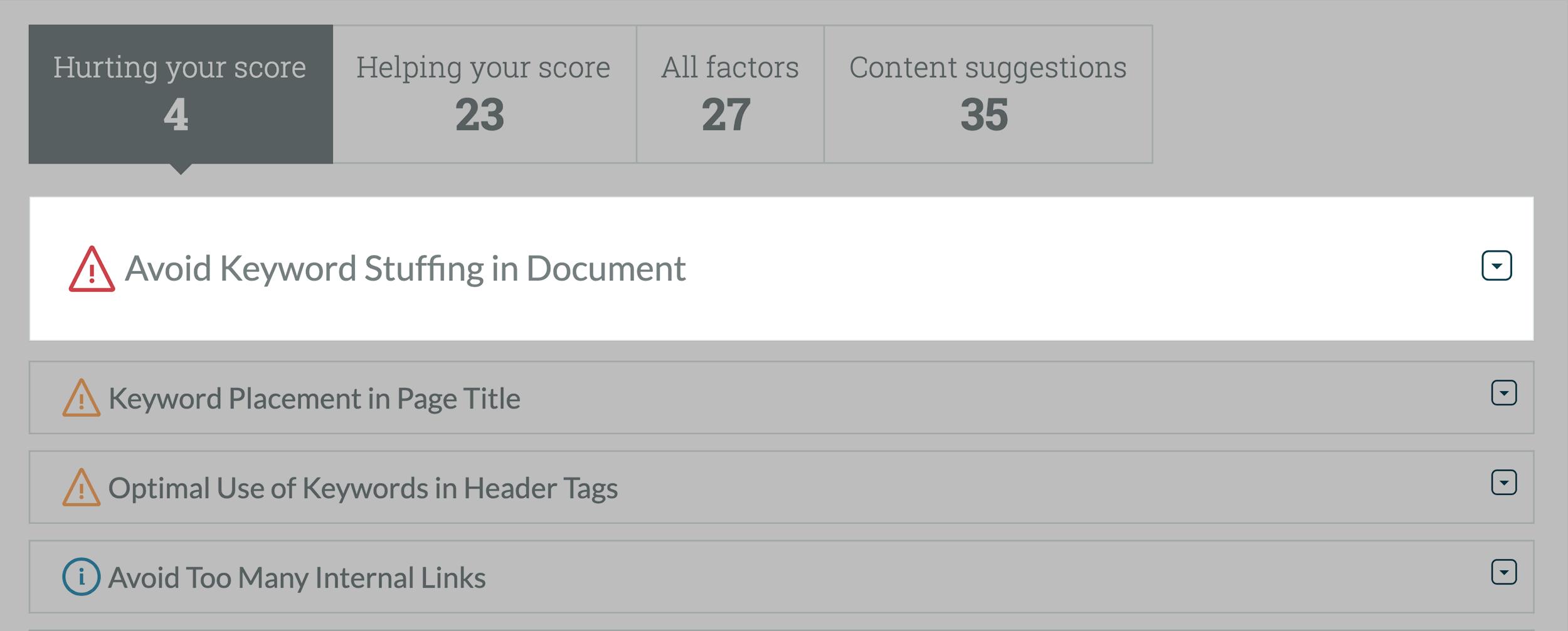 Moz – Page Optimization keyword stuffing