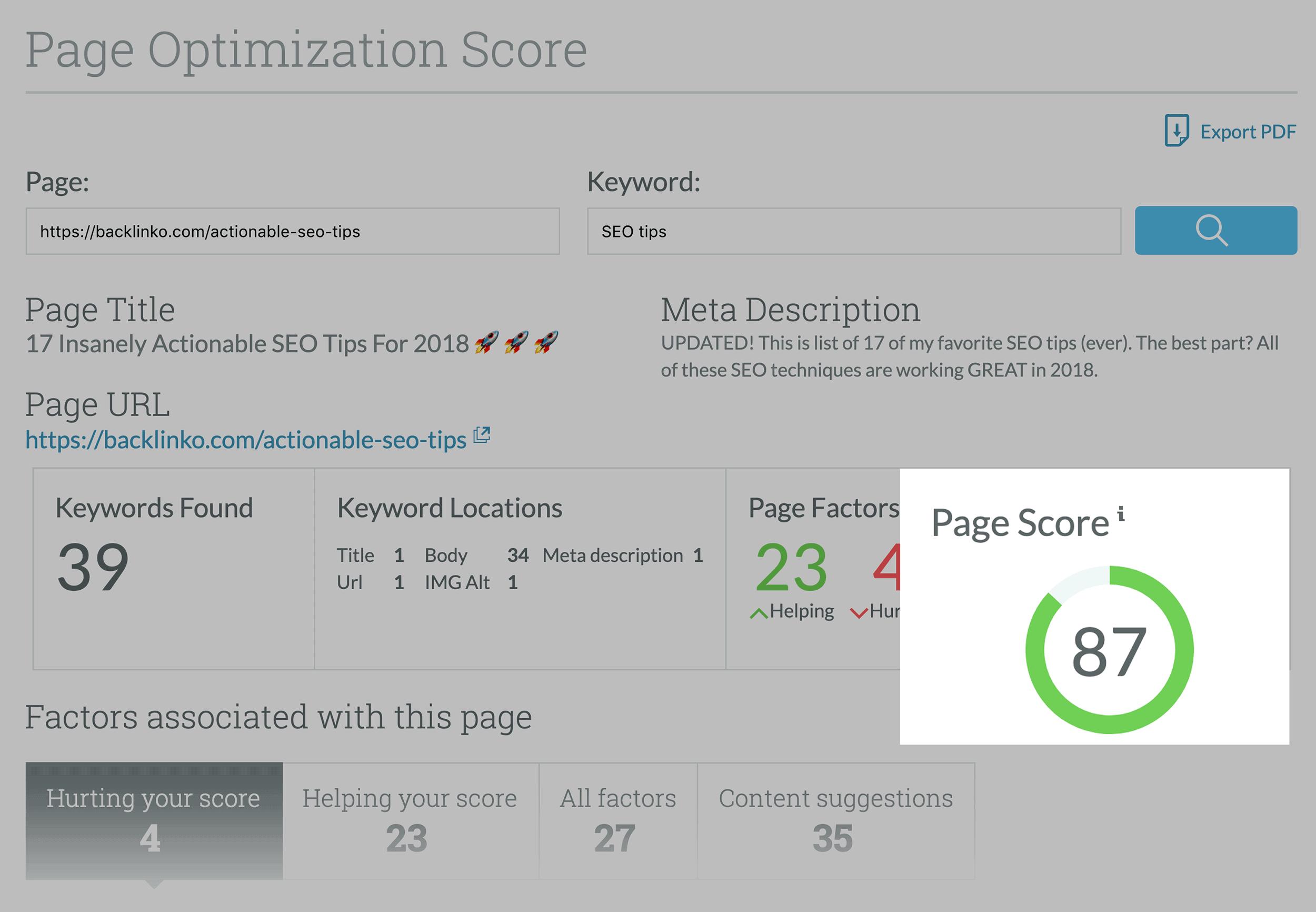 Moz – Page Optimization Page Score
