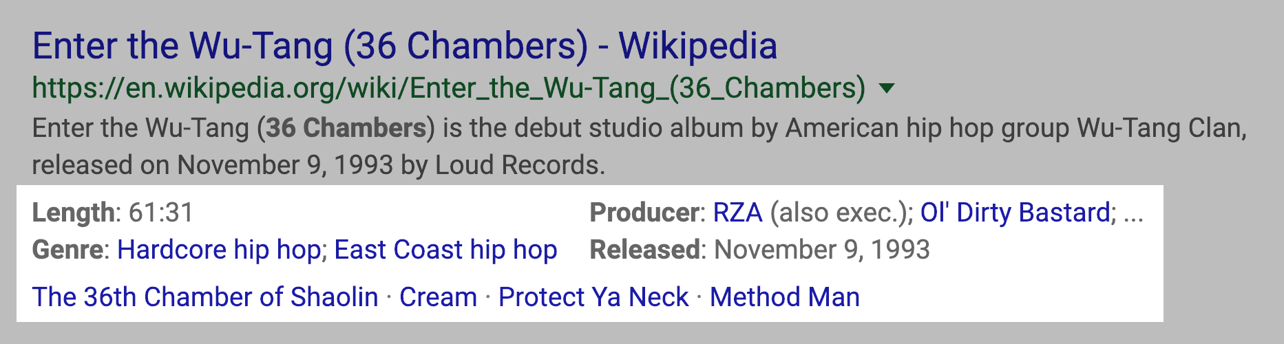 Music Rich Snippet SERPs