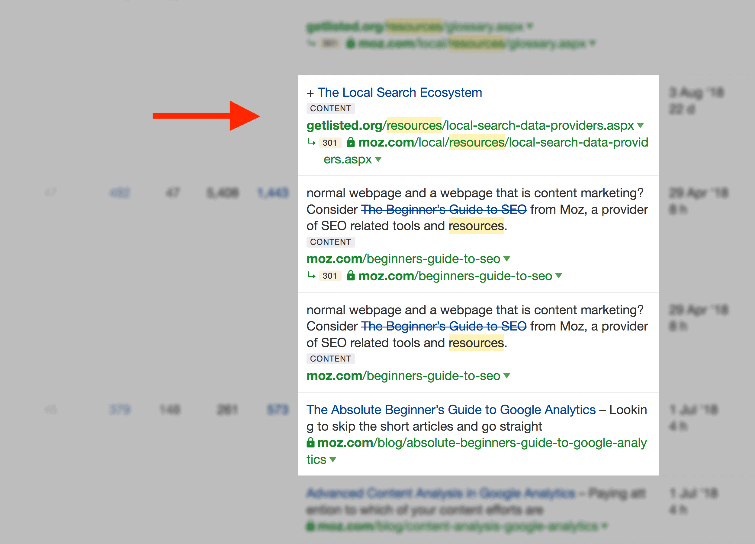 Pages that use links