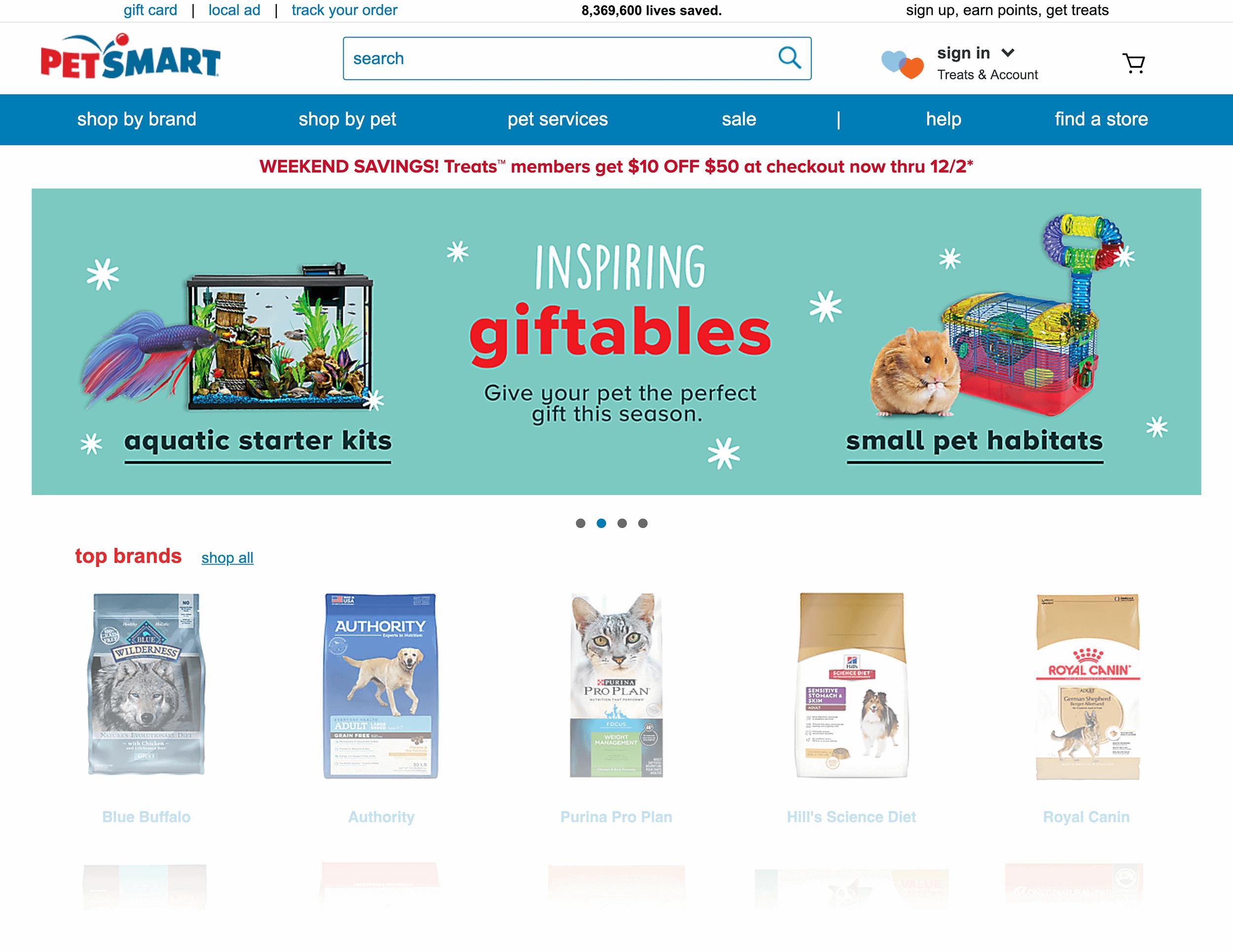 PetSmart homepage