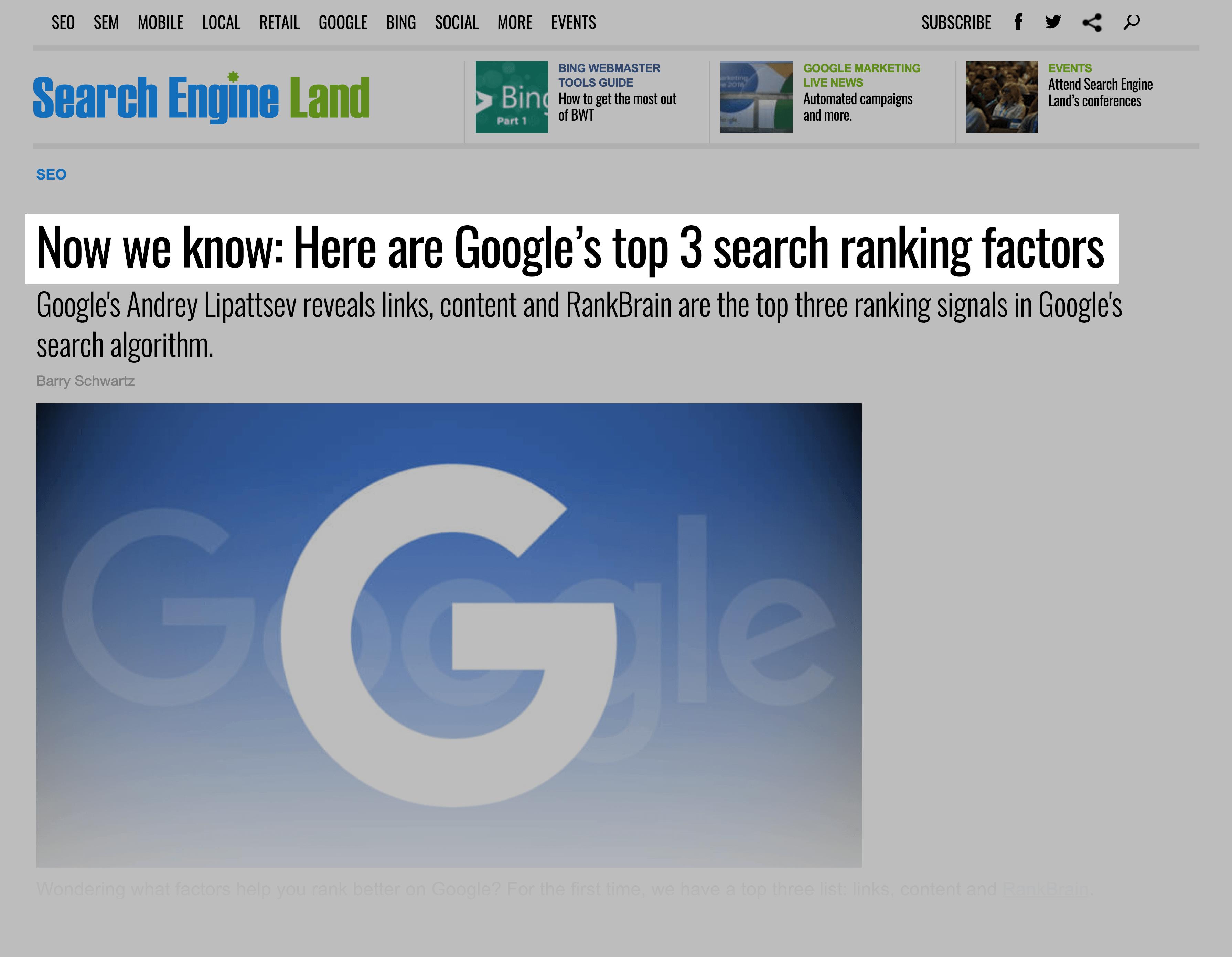 RankBrain is one of Google's top 3 ranking factors