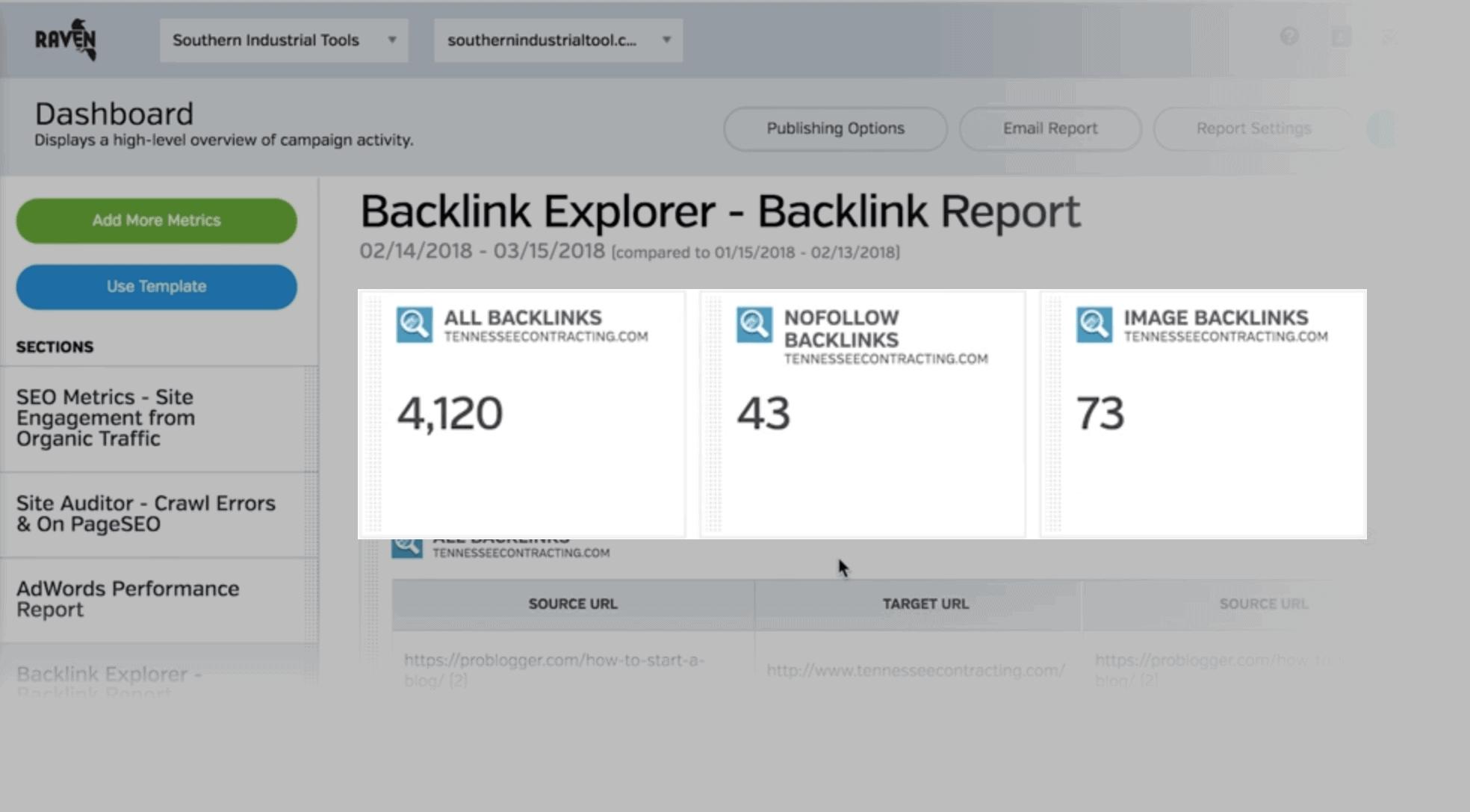 Raven Tools – Backlinks Explorer