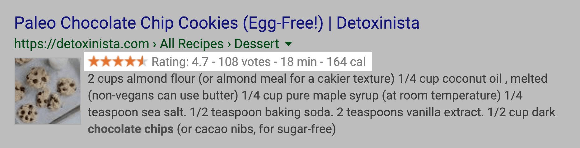 Recipes Rich Snippet SERPs