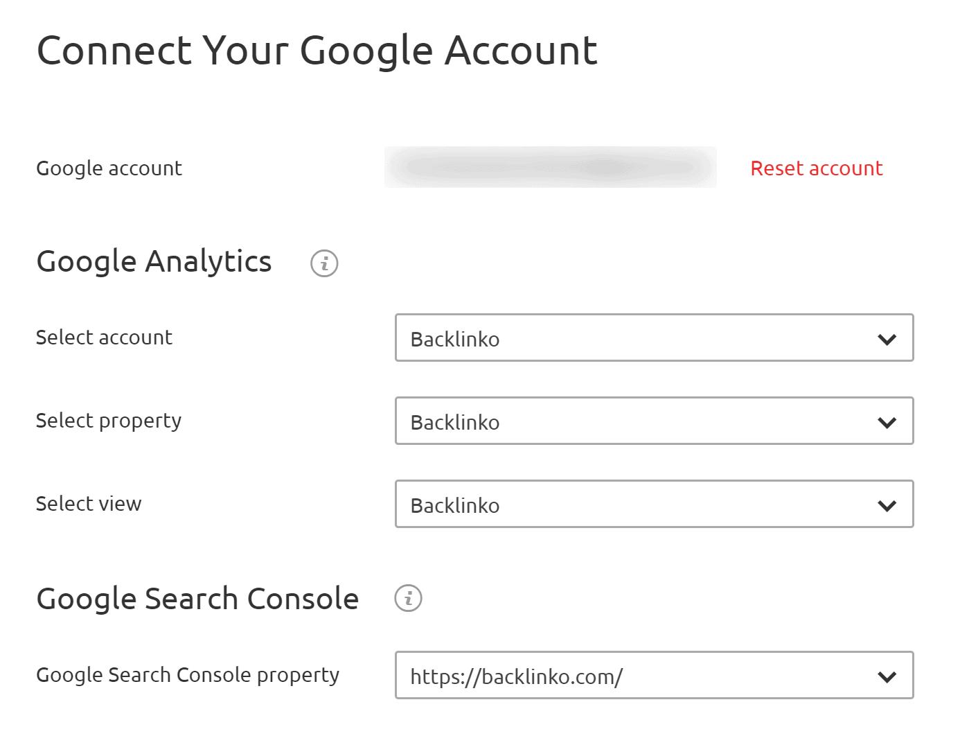 SEMRush - Approfondimenti sul traffico organico - Collega gli account Google Analytics e Google Search Console