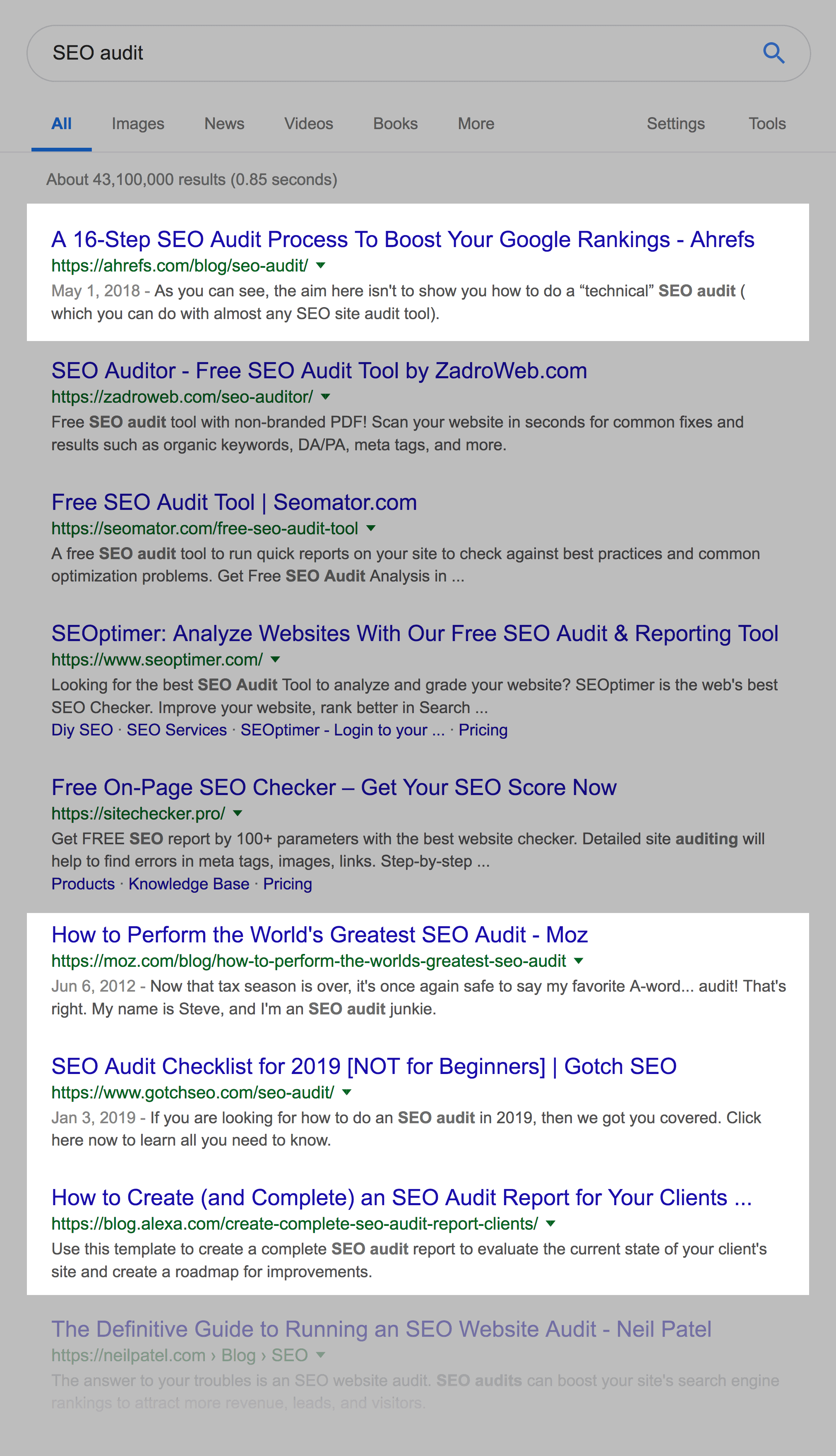 """""""SEO audit"""" process results"""