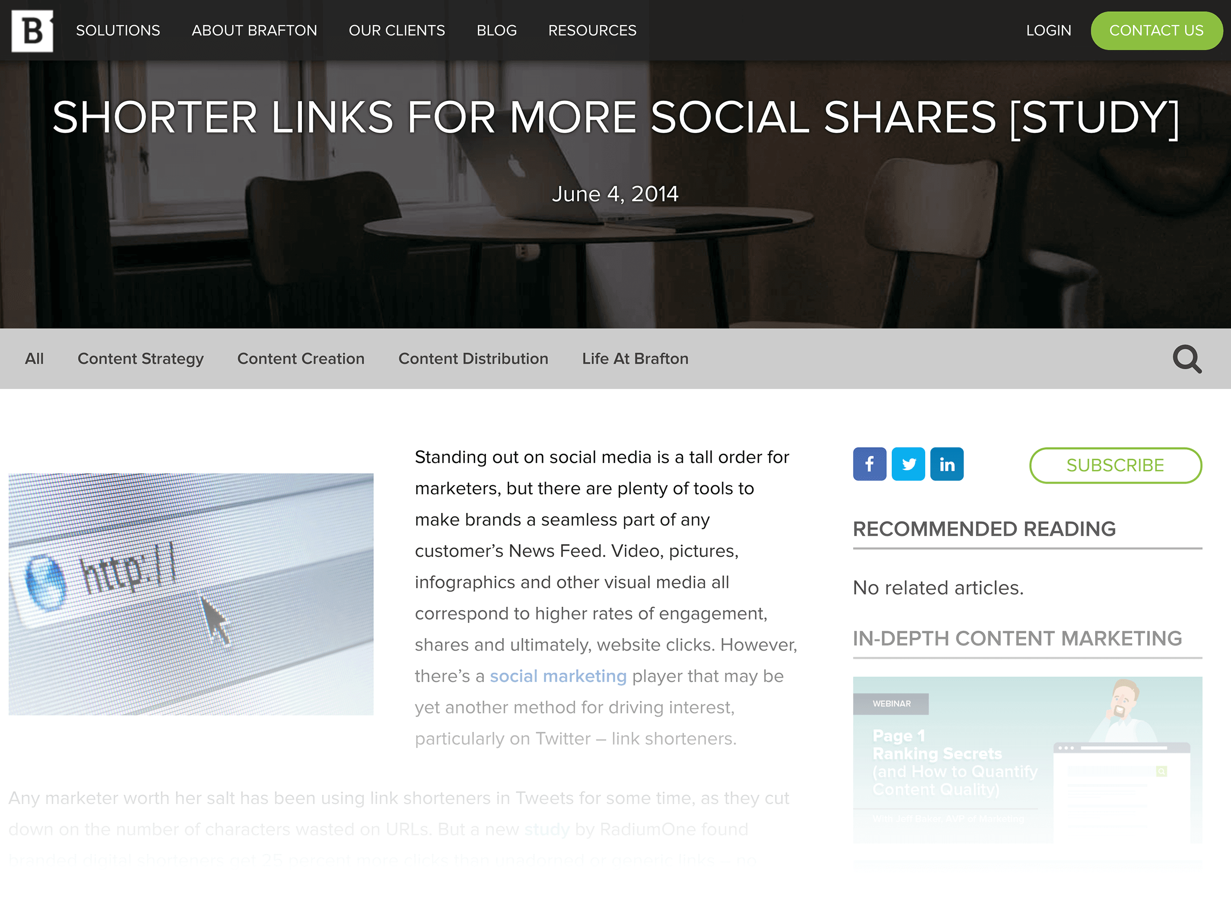 Short URLs are correlated with more social shares