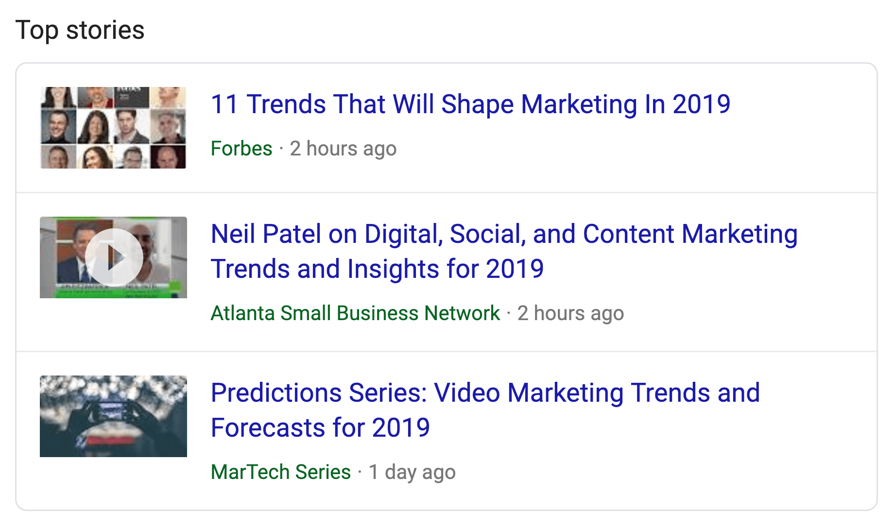 Top Stories Rich Snippet SERPs