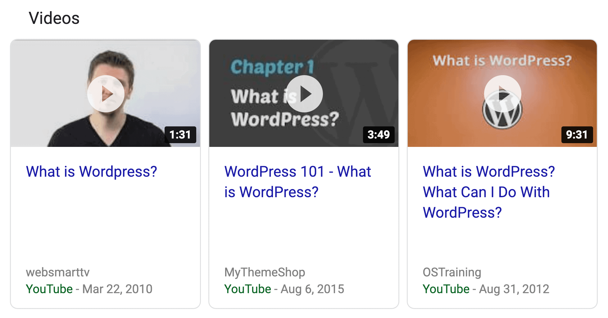 Video Rich Snippet SERPs