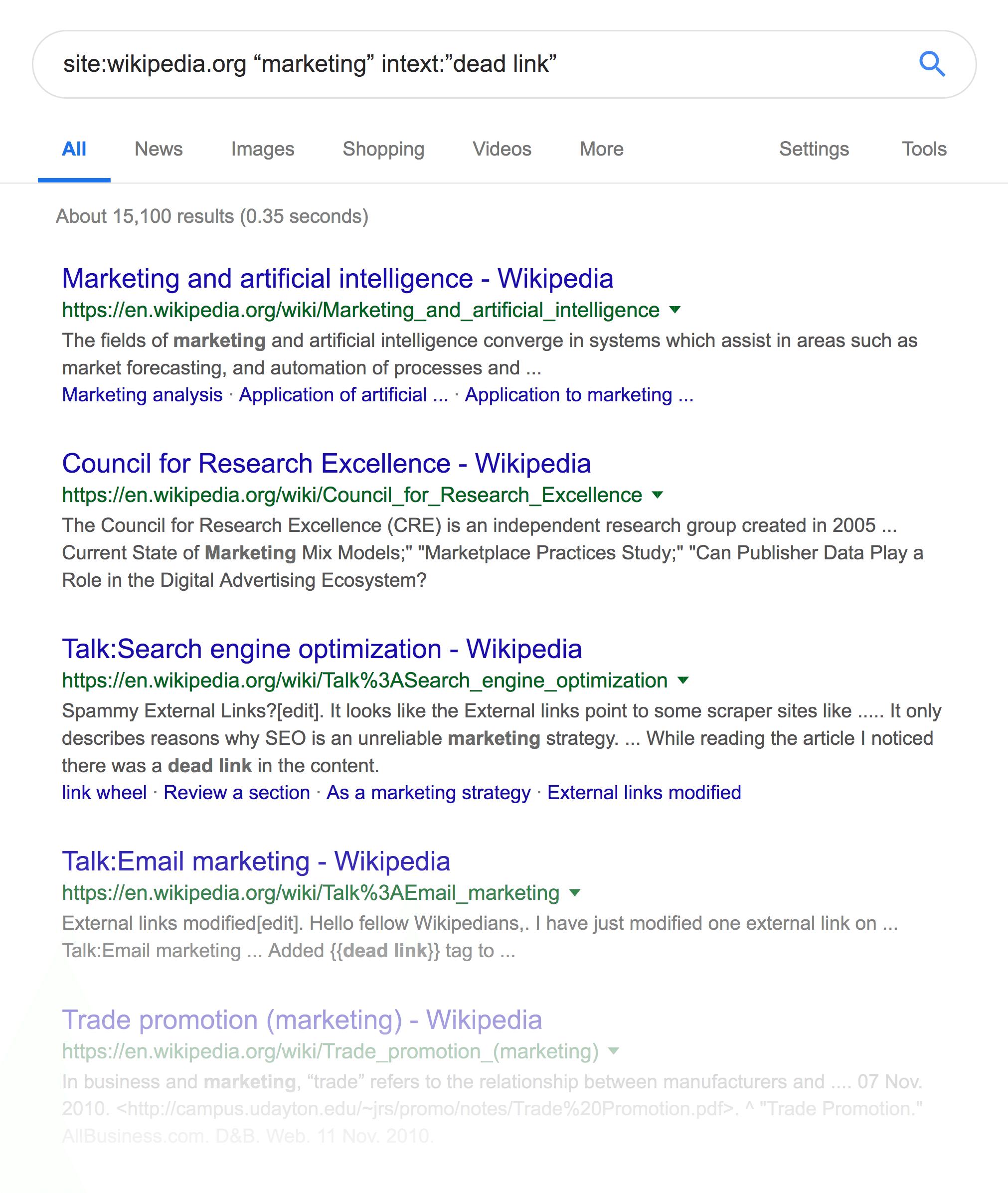 Wikipedia – Dead link results