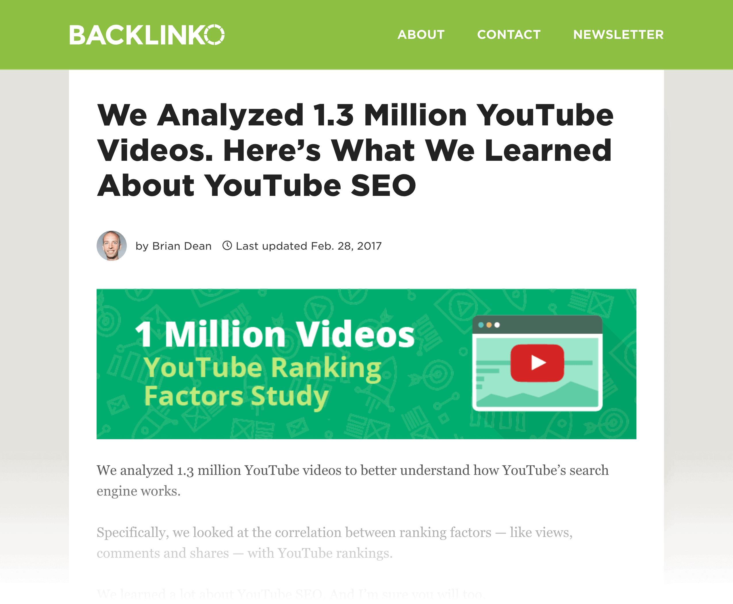 YouTube Ranking Factors study
