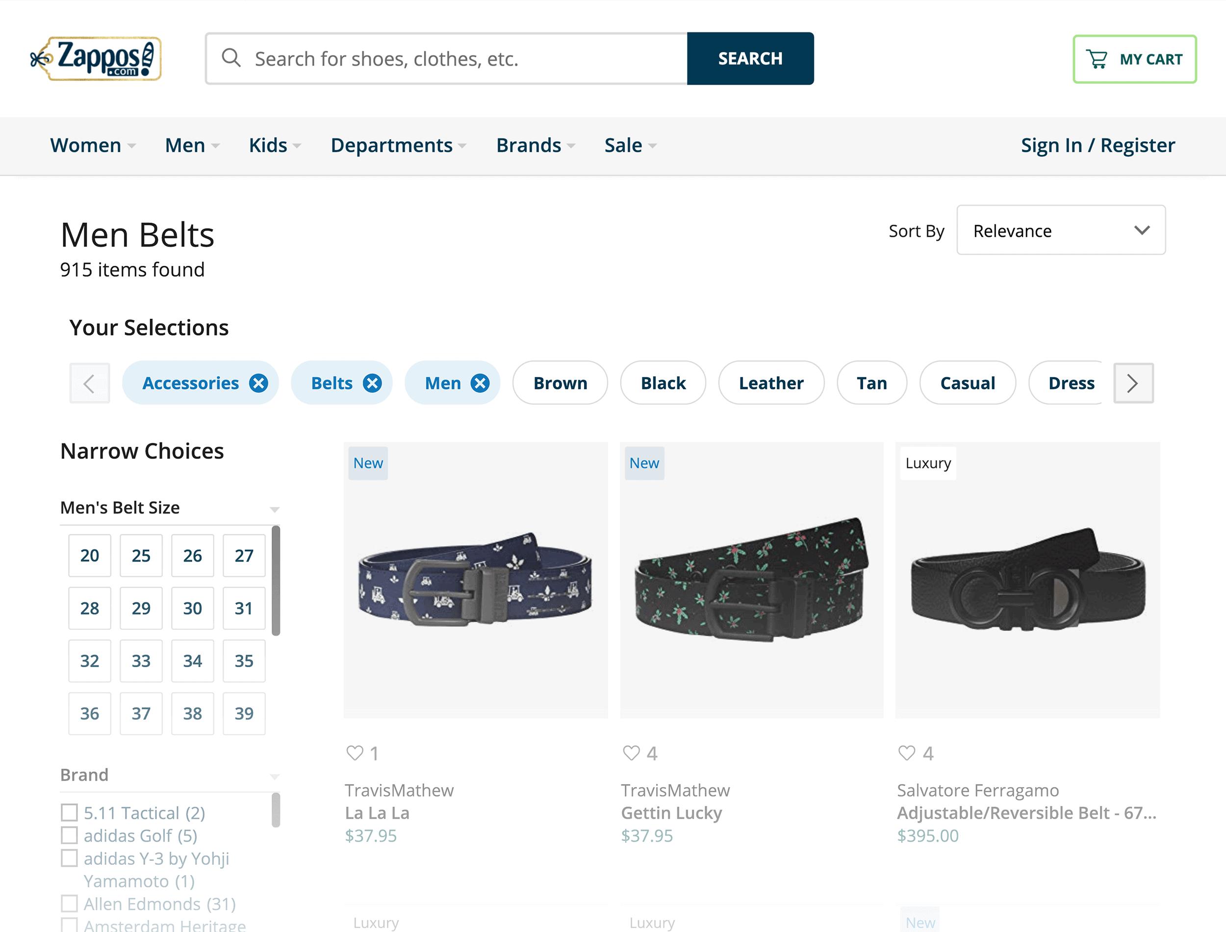 Zappos internal linking example