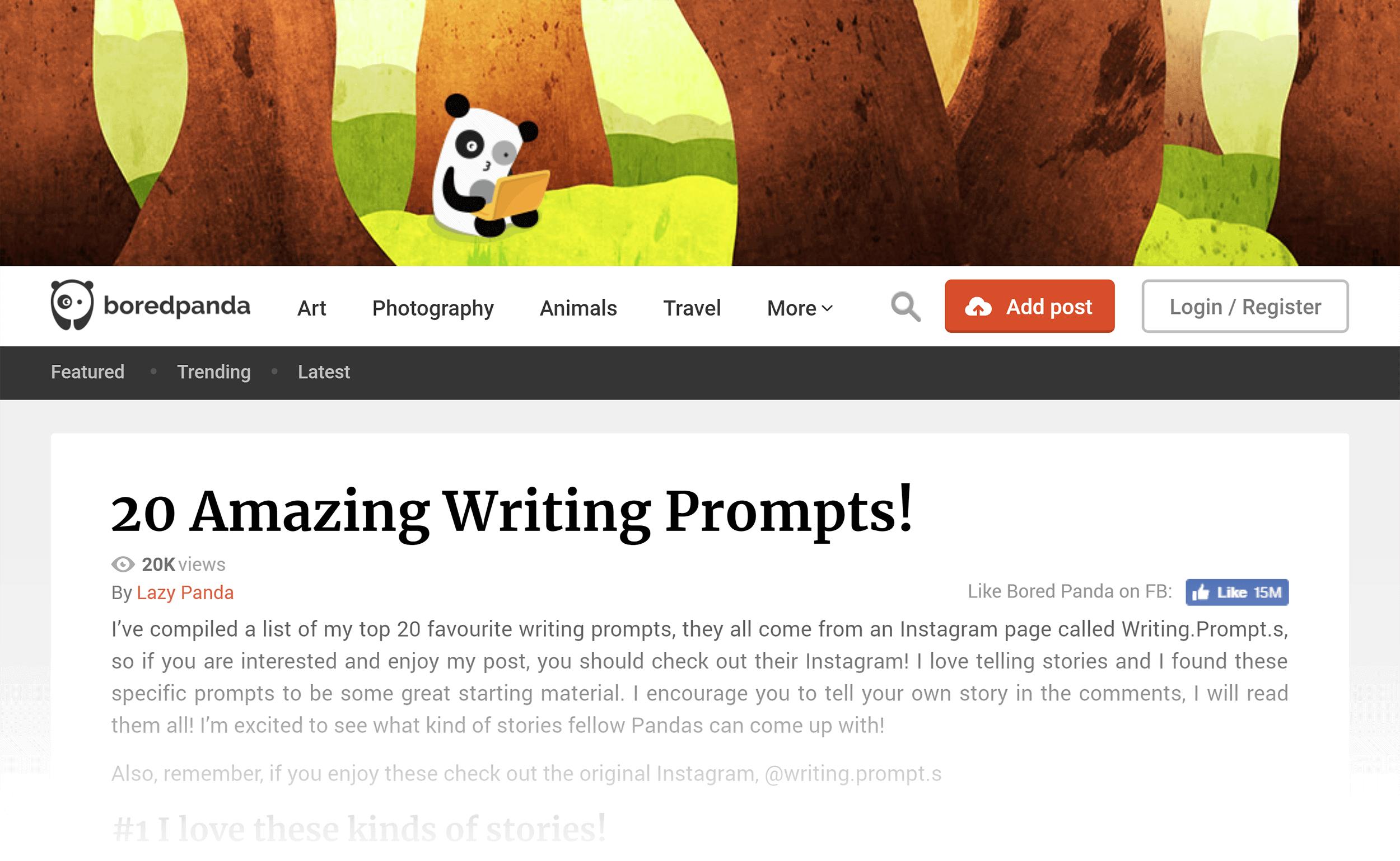 20 amazing writing prompts