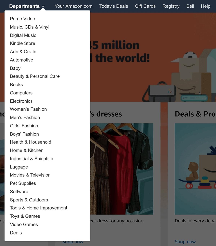 Amazon – Departments