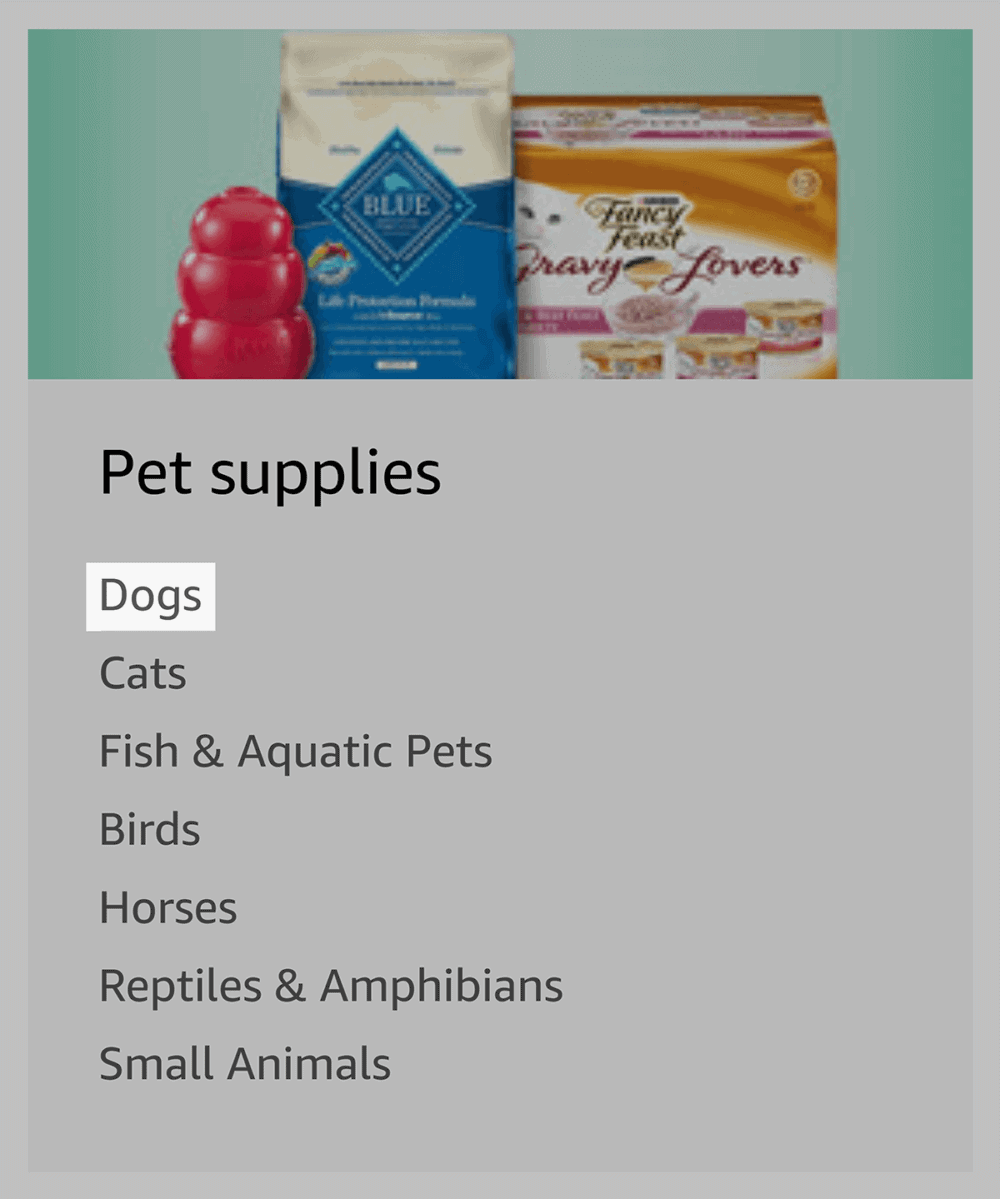 Amazon – Site Directory – Pet supplies – Dogs