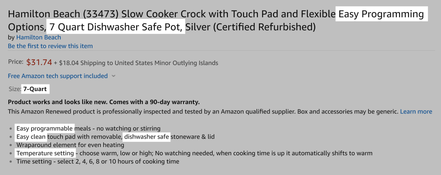 Amazon – Slow cookers – Detail