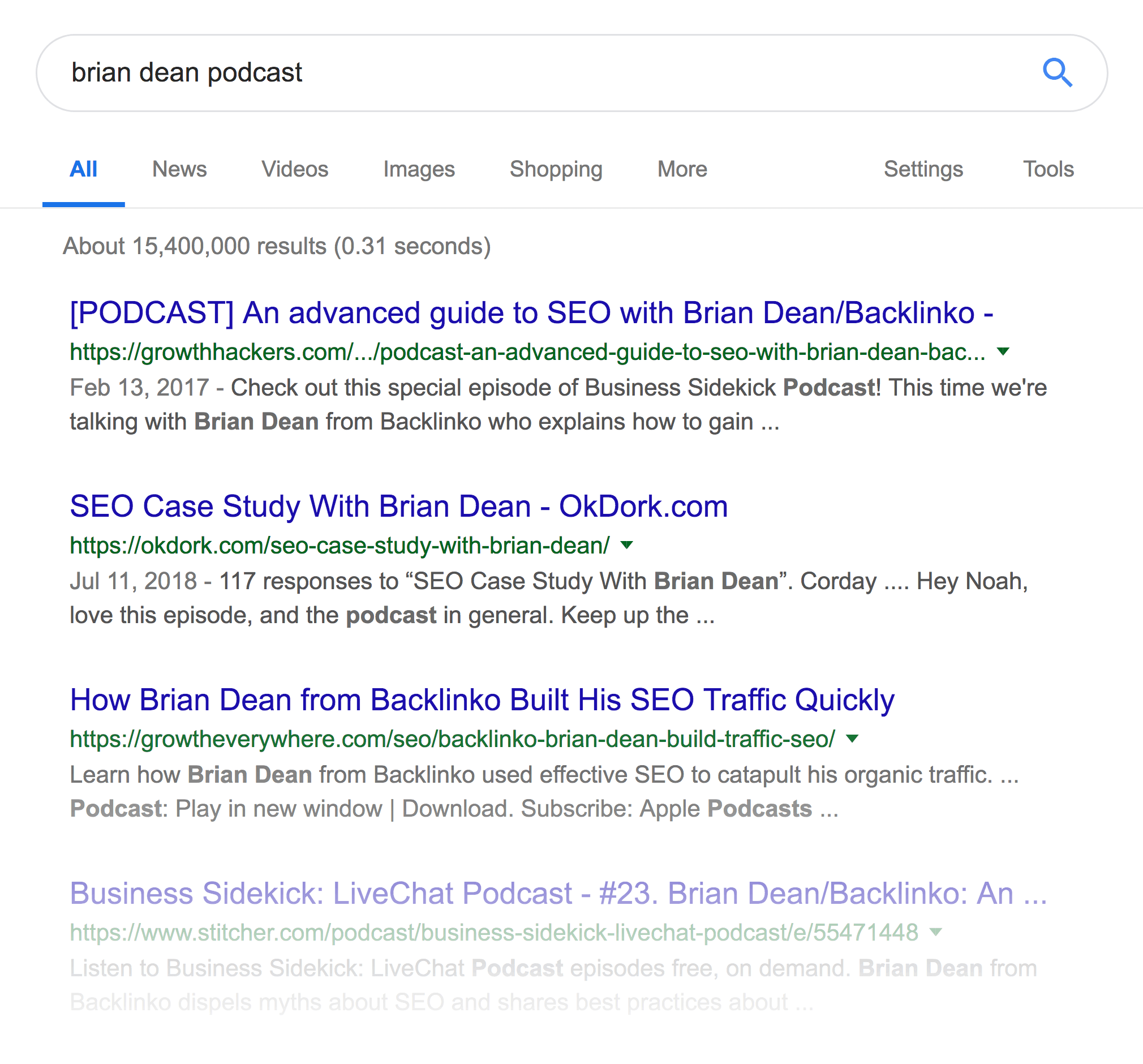 """brian dean podcast"" SERPs"