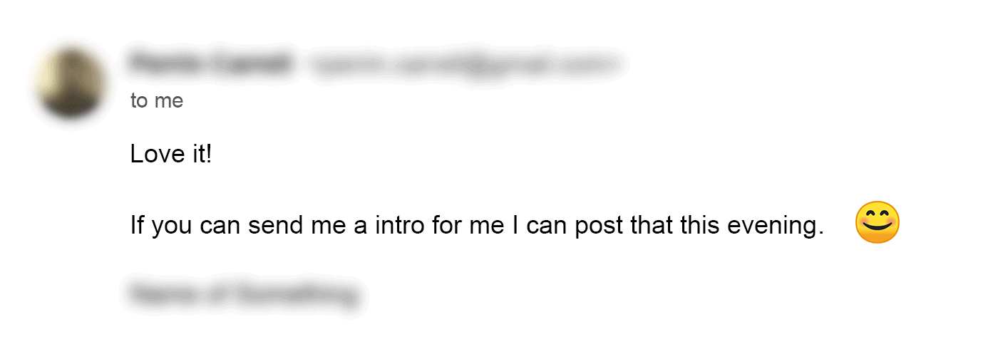 Email outreach response