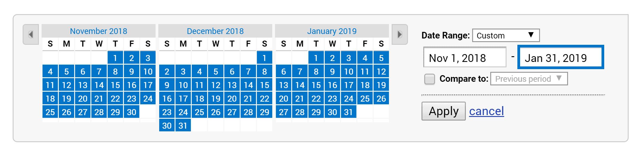 Google Analytics – Set date range