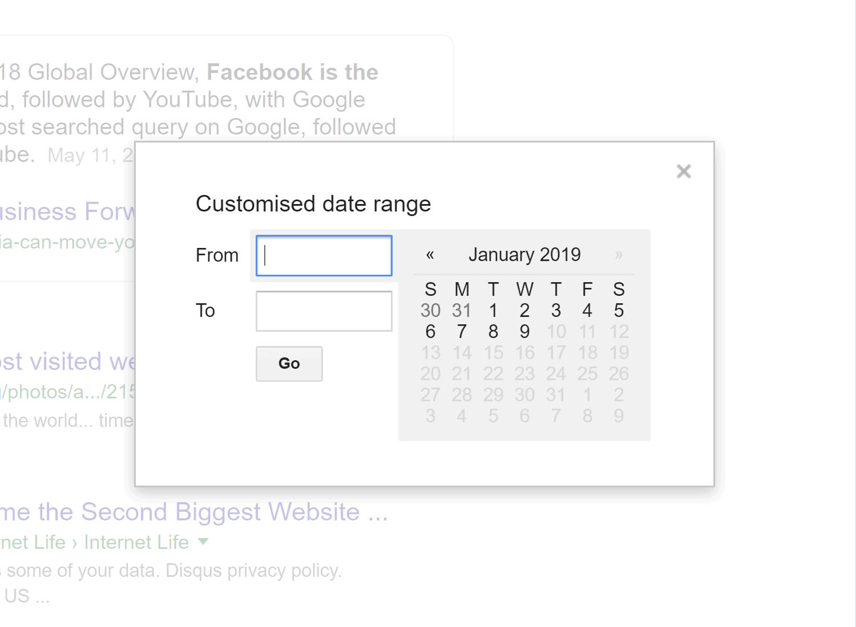 محدوده تاریخ Google