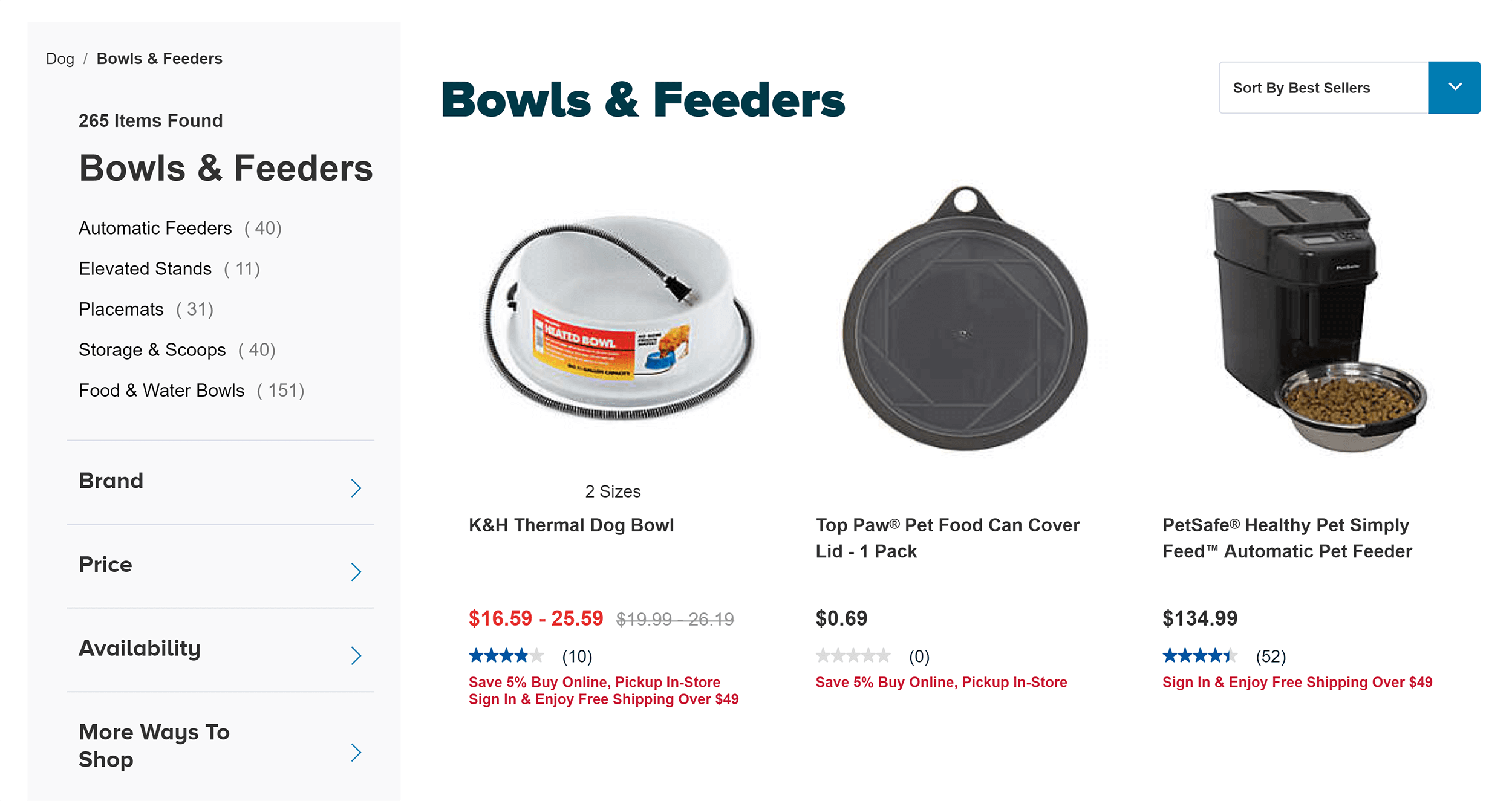PetSmart – Bowls and feeders