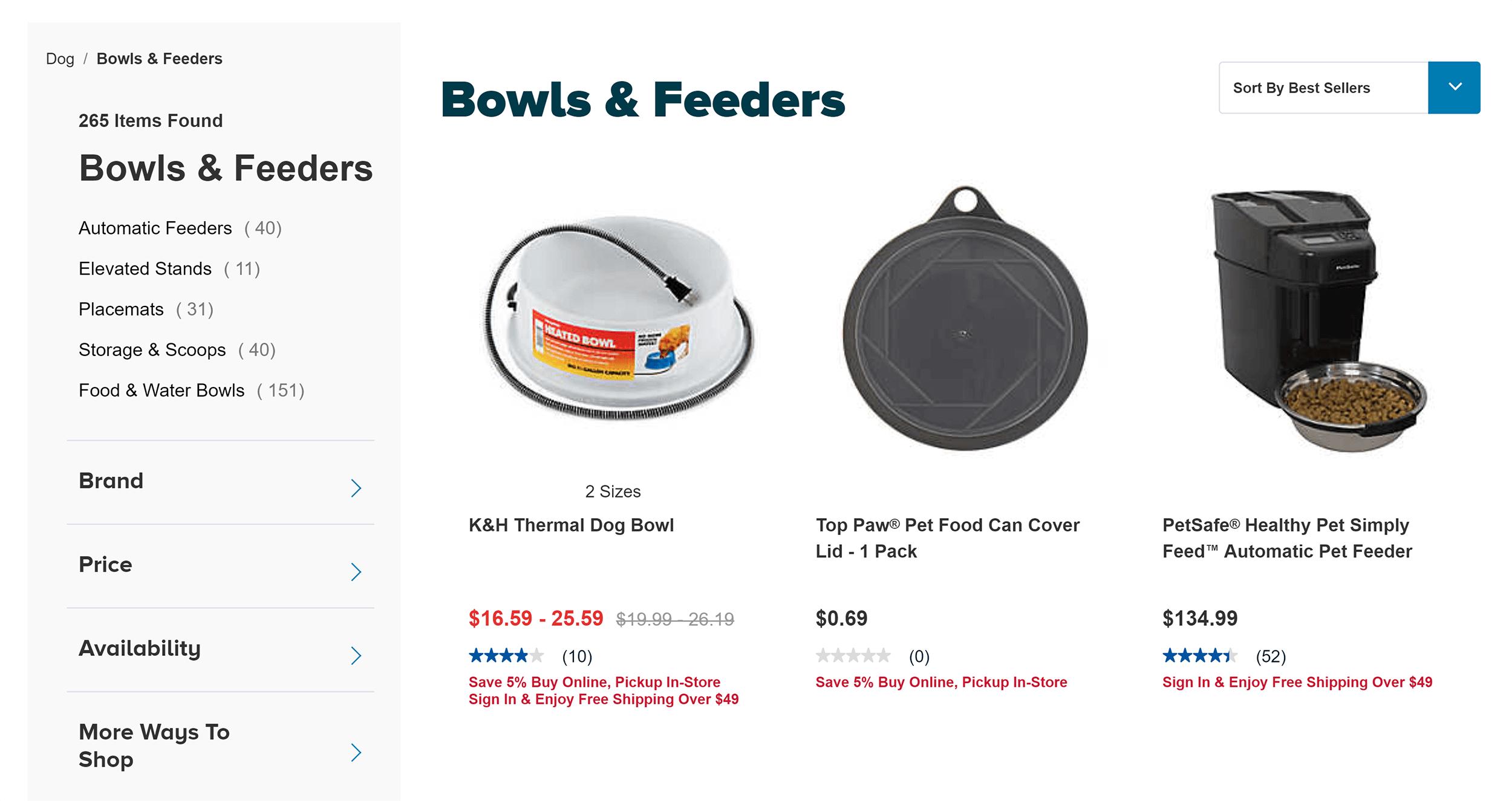 PetSmart – Bowls and feeders