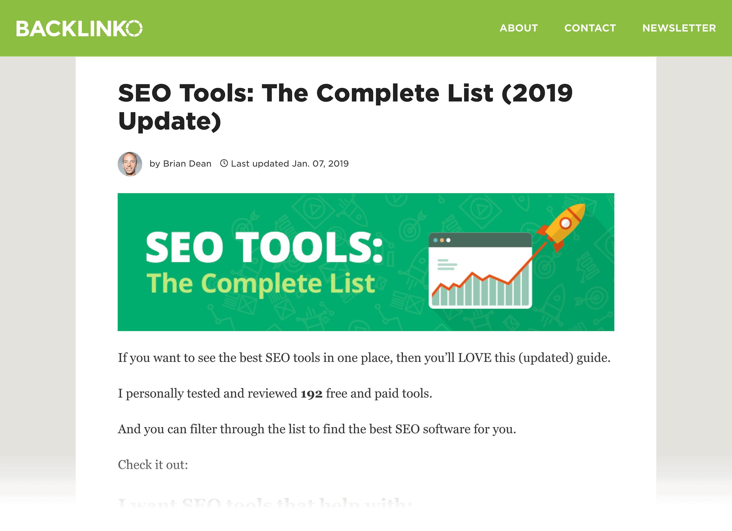 SEO Tools post – Backlinko