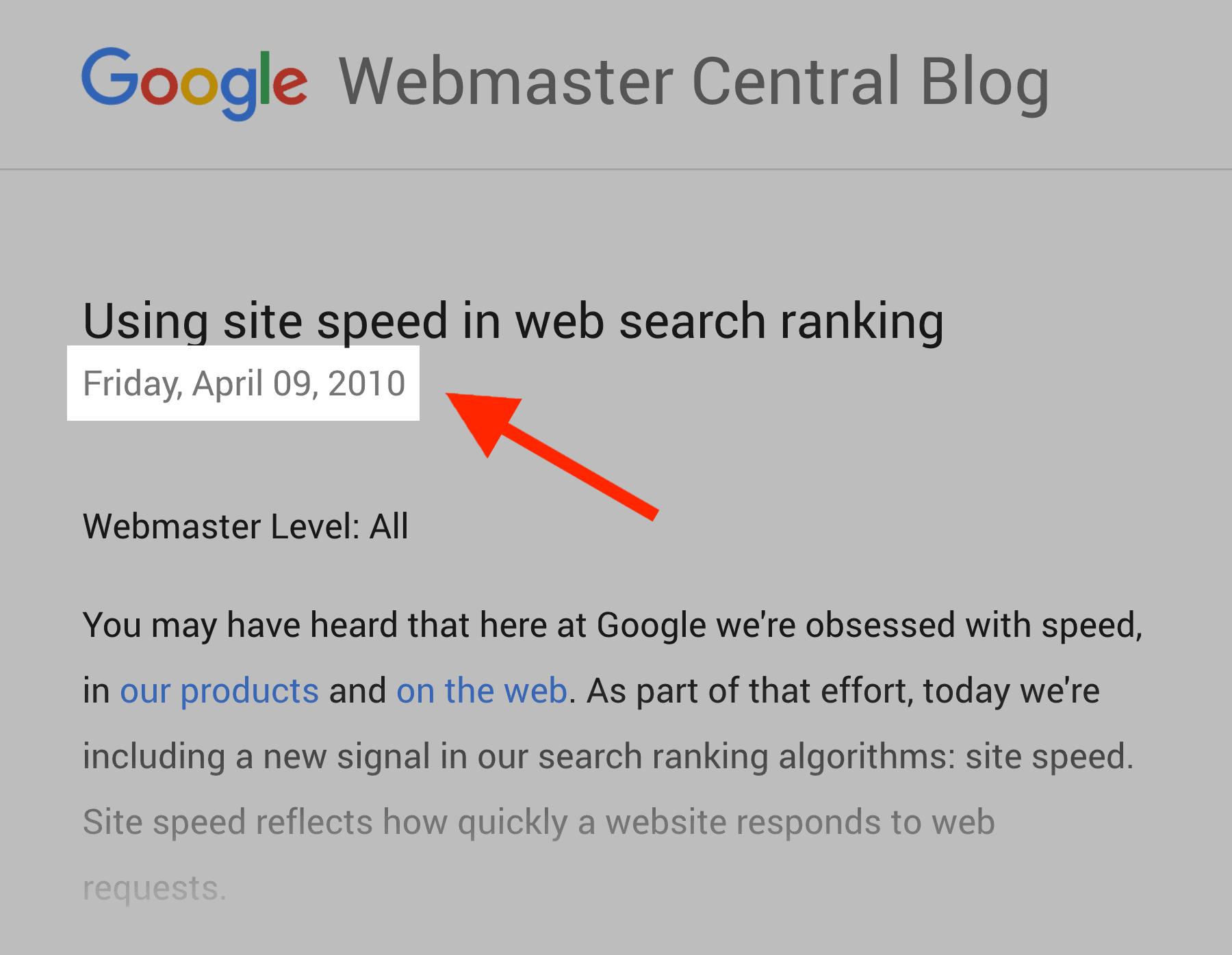 Site speed a factor - Since 2010
